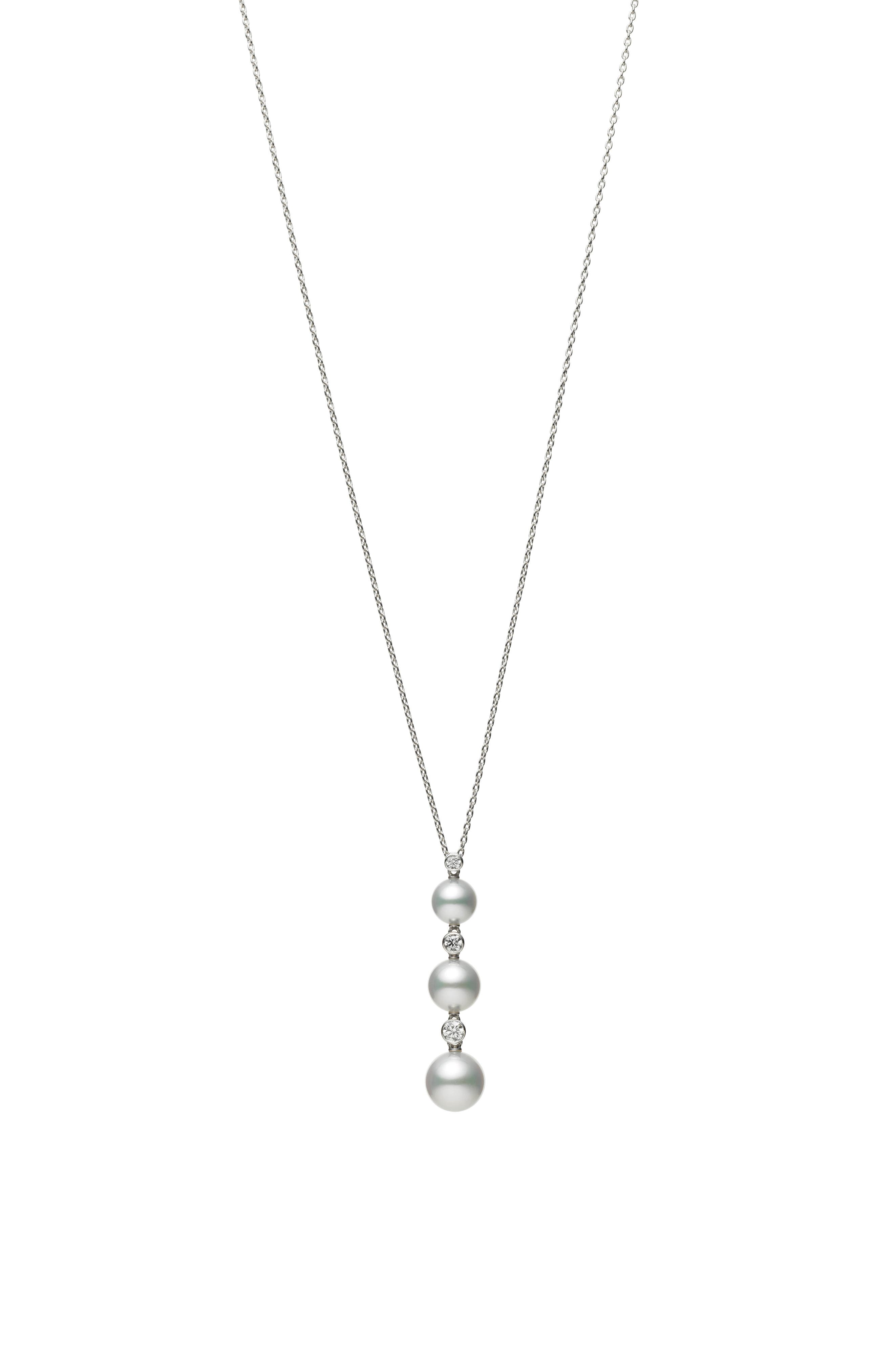 MIKIMOTO Diamond & Pearl Drop Necklace in Pink