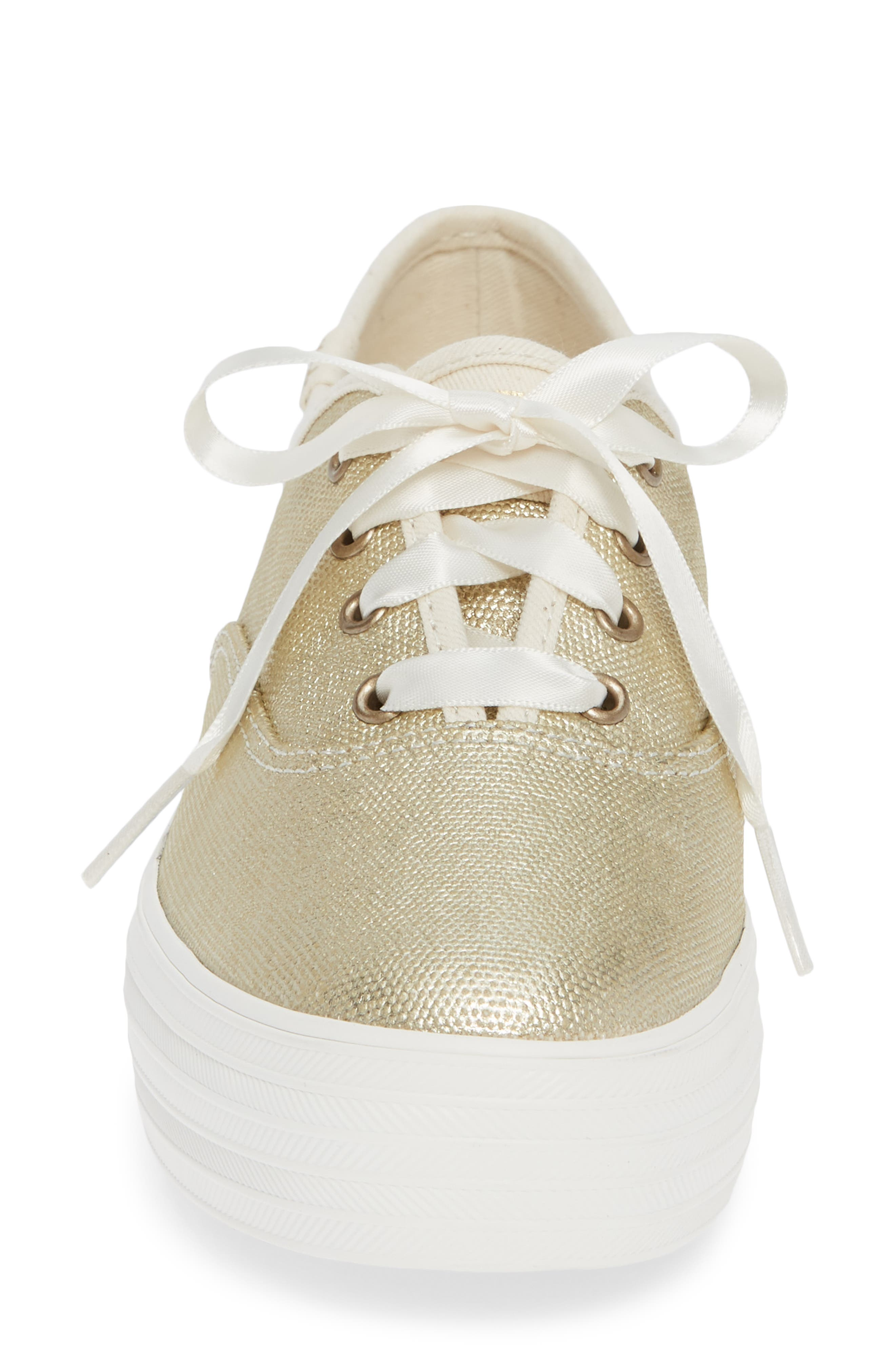 Triple Decker Brushed Metallic Platform Sneaker,                             Alternate thumbnail 4, color,                             PLATINUM
