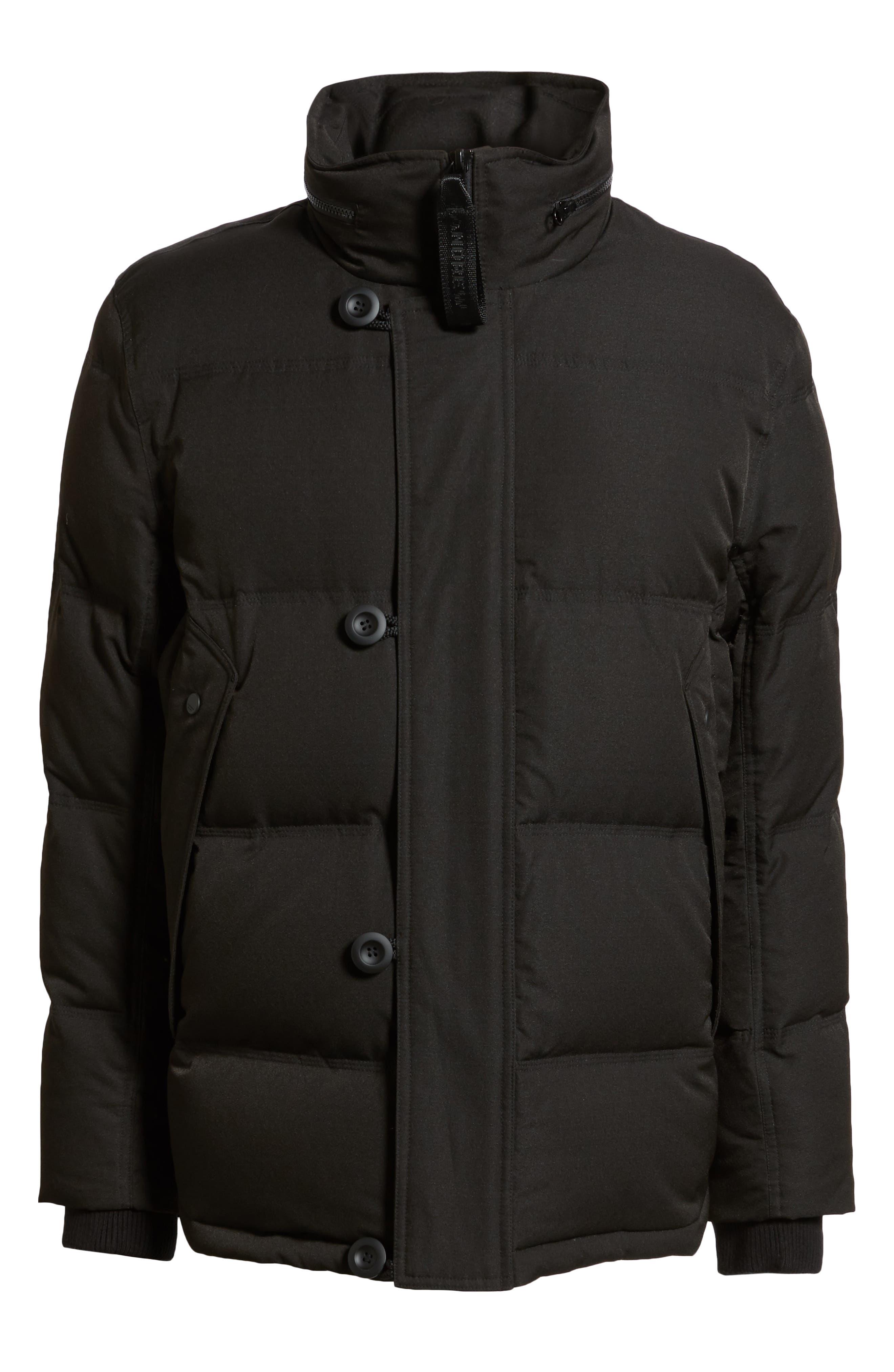 Bryant Genuine Rabbit Fur Trim Down Jacket,                             Alternate thumbnail 6, color,                             BLACK