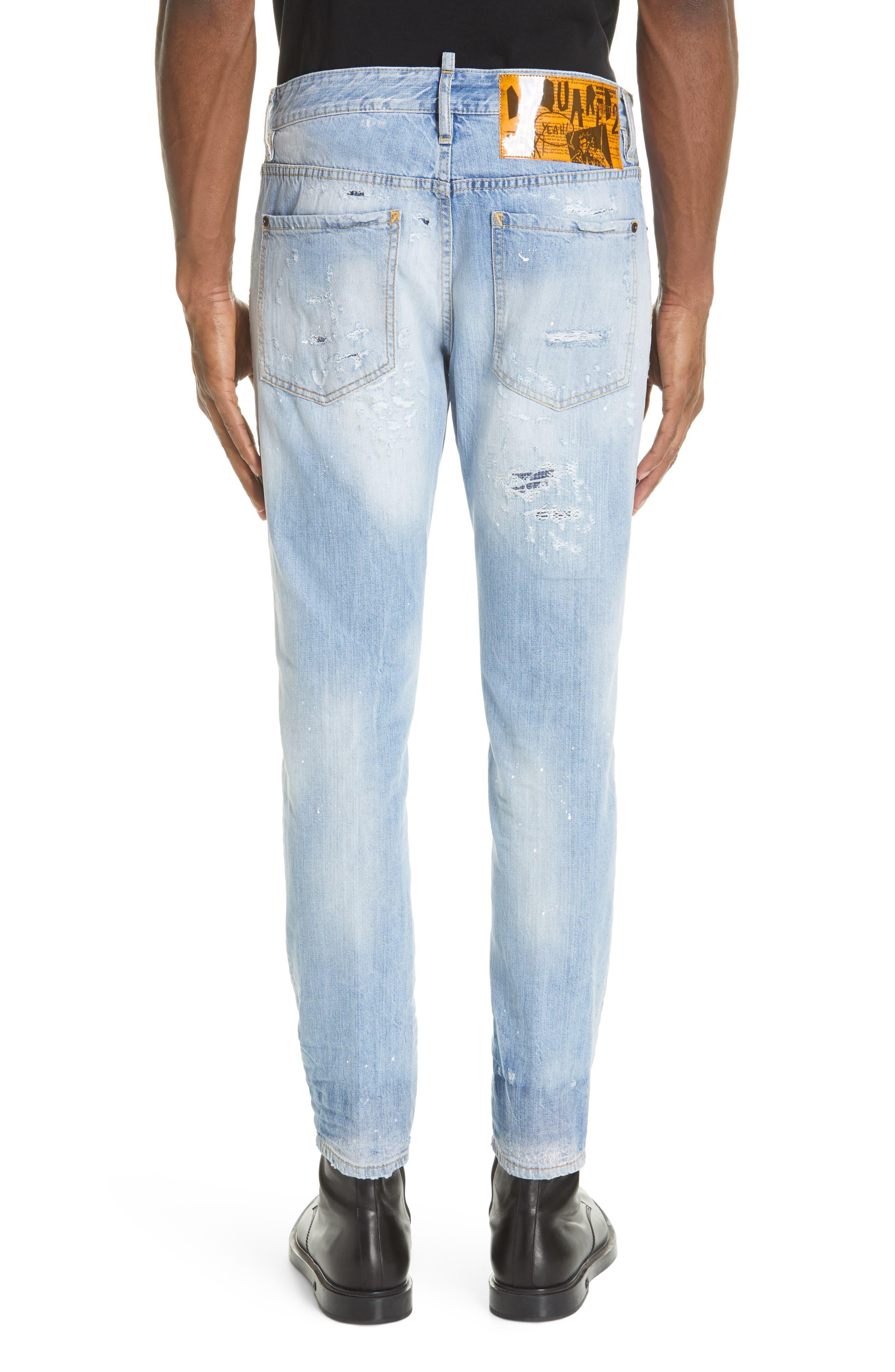 Light Wash Cigarette Fit Jeans,                             Alternate thumbnail 2, color,                             BLUE