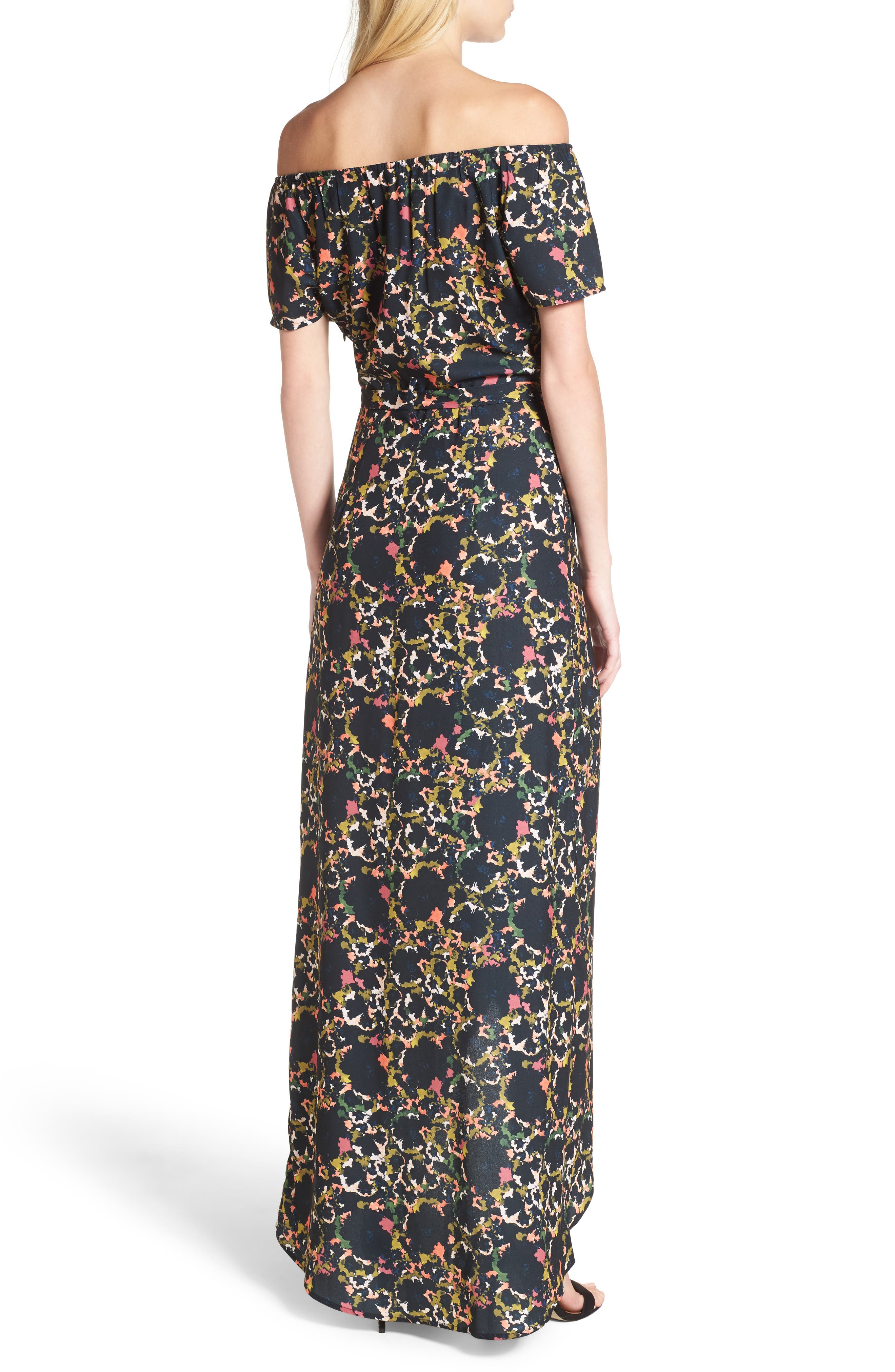Off the Shoulder Crepe Maxi Dress,                             Alternate thumbnail 2, color,