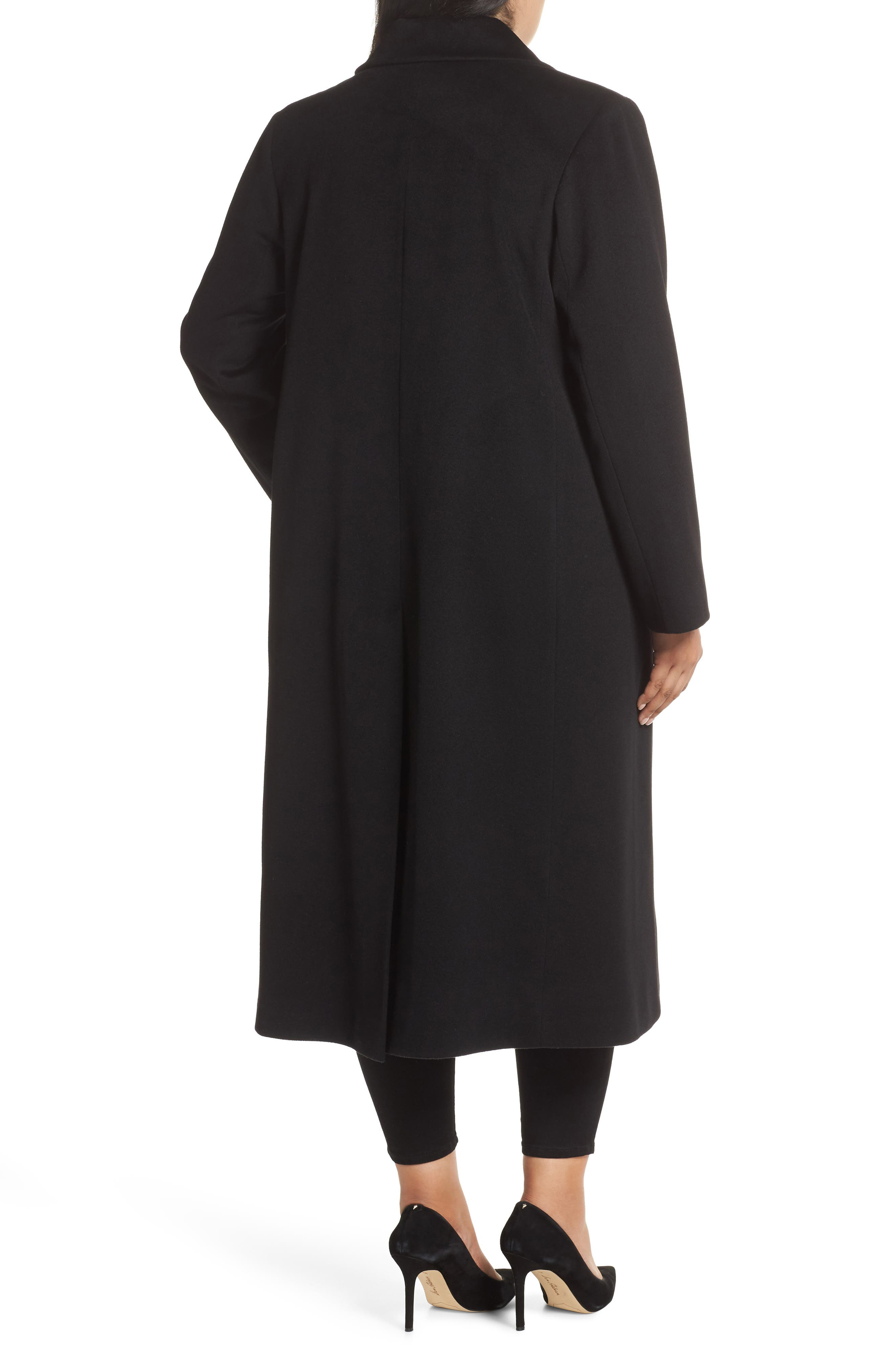 FLEURETTE,                             Maxi Reefer Wool Coat,                             Alternate thumbnail 2, color,                             BLACK