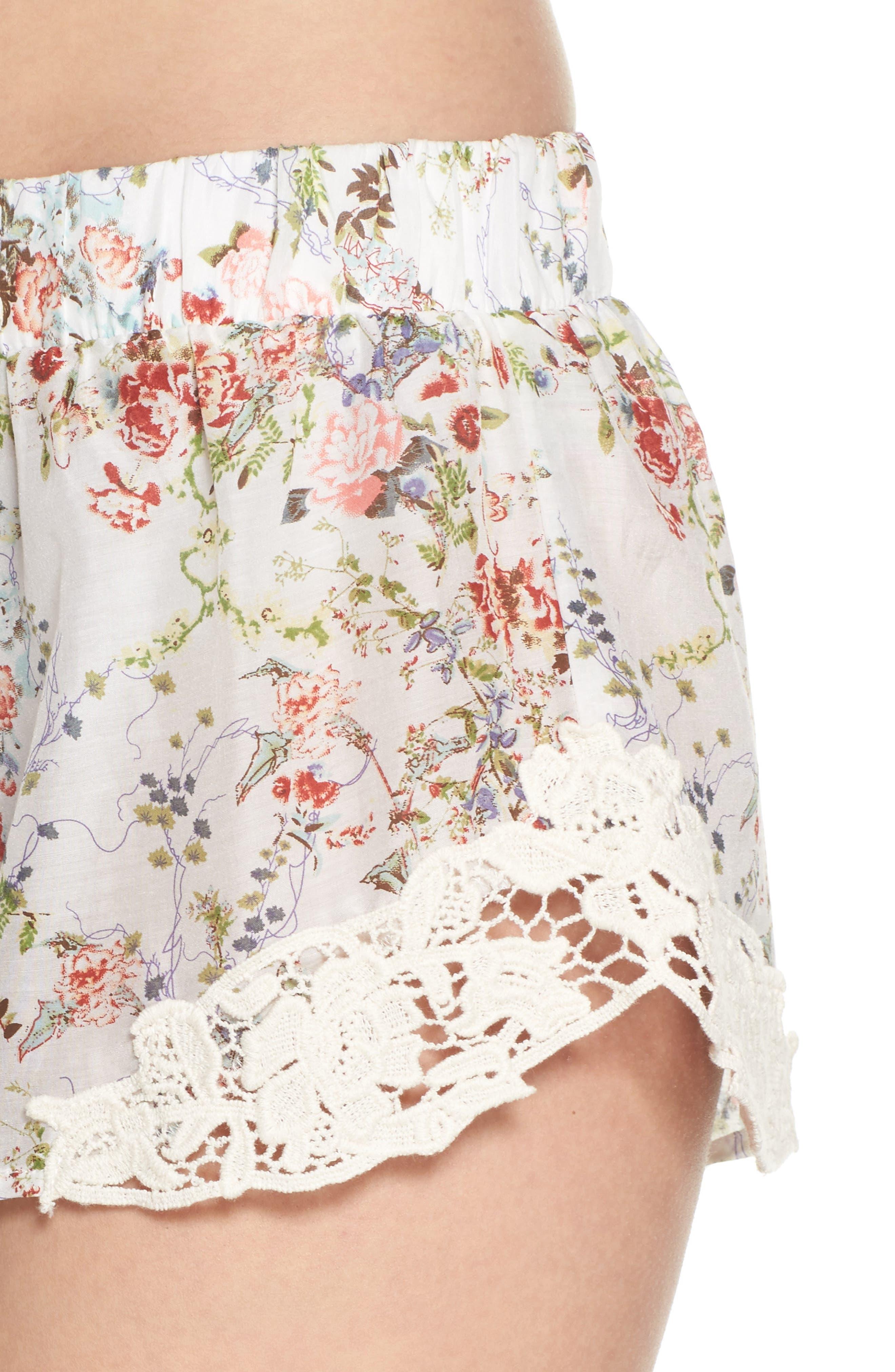 Yolly Floral Pajama Shorts,                             Alternate thumbnail 4, color,                             IVORY FLORAL