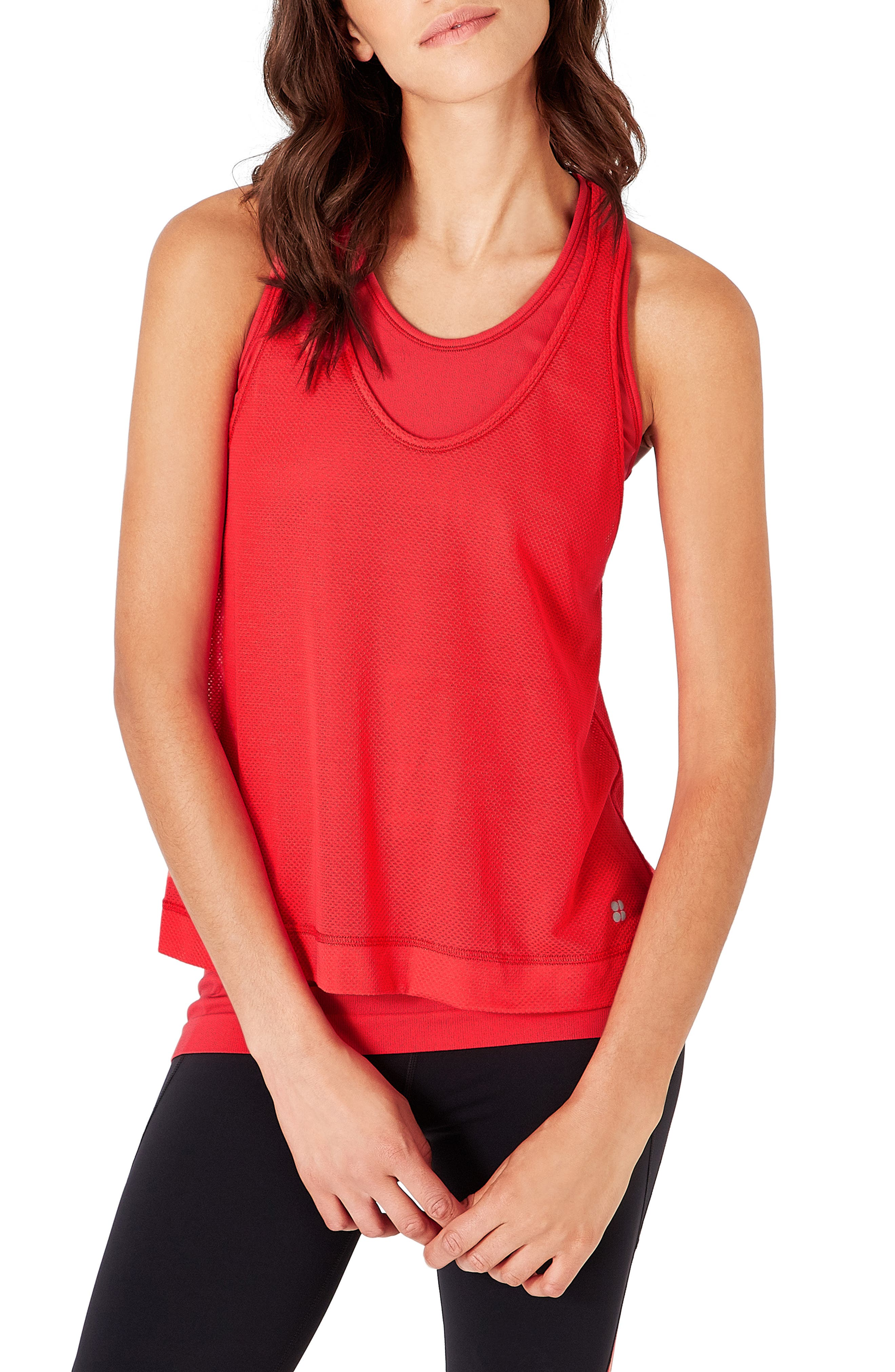 SWEATY BETTY,                             Double Time Seamless Tank,                             Main thumbnail 1, color,                             TULIP RED