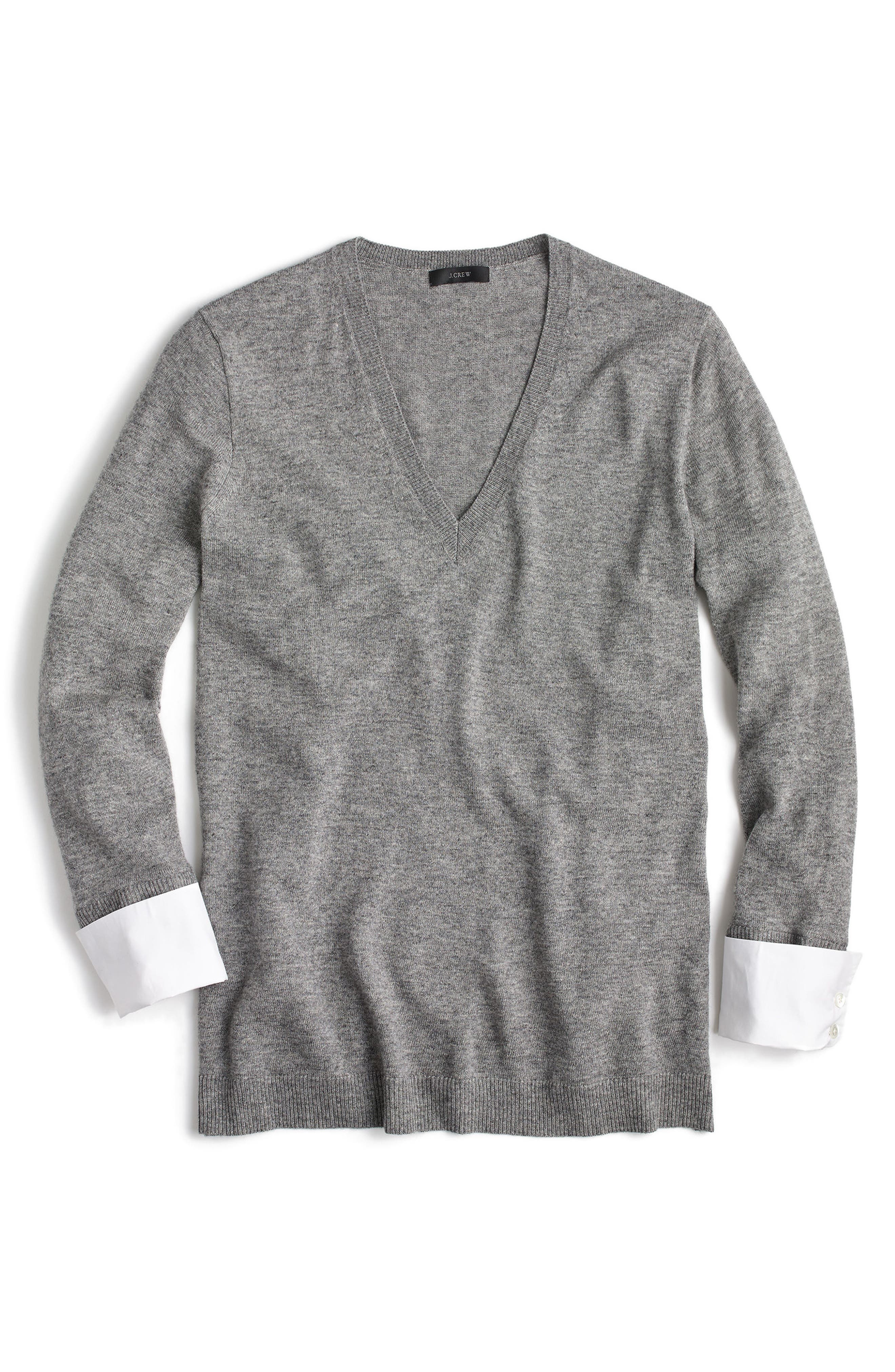 V-Neck Sweater with Shirt Cuffs,                             Alternate thumbnail 3, color,                             020