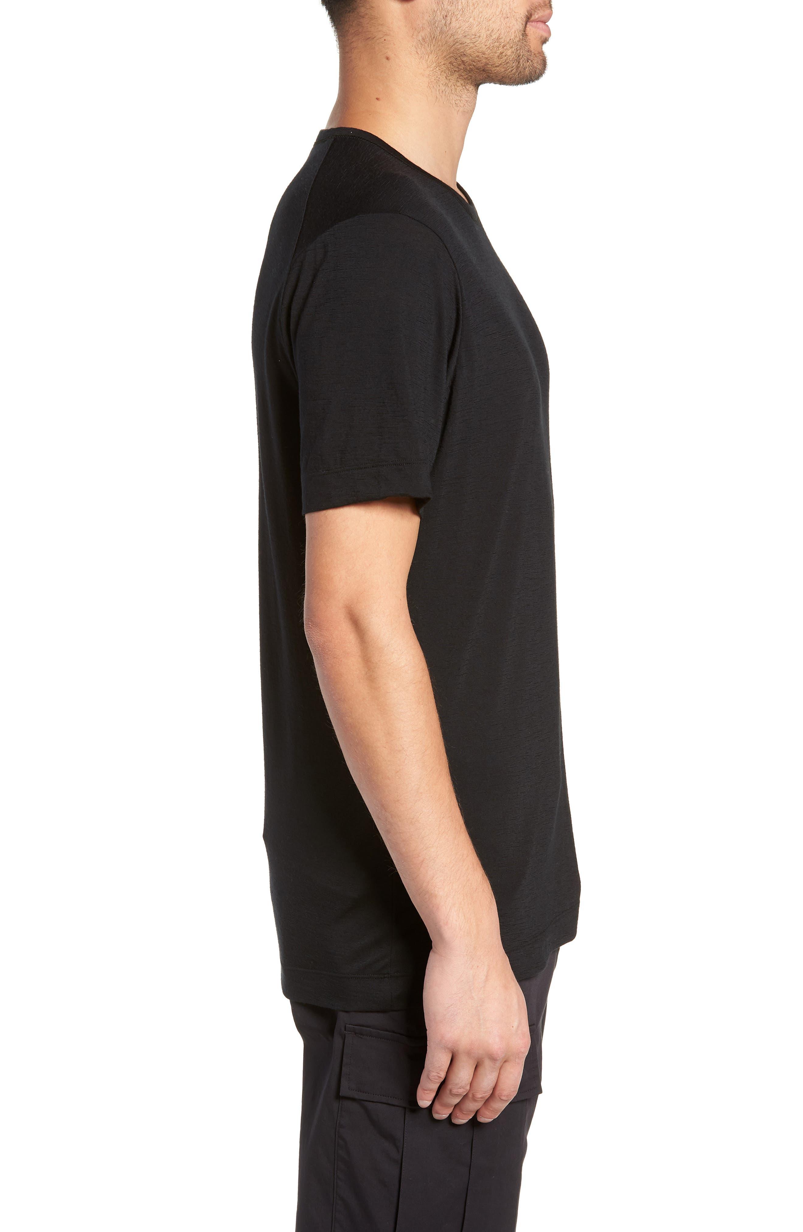 Swedish Merino Wool T-Shirt,                             Alternate thumbnail 3, color,                             BLACK