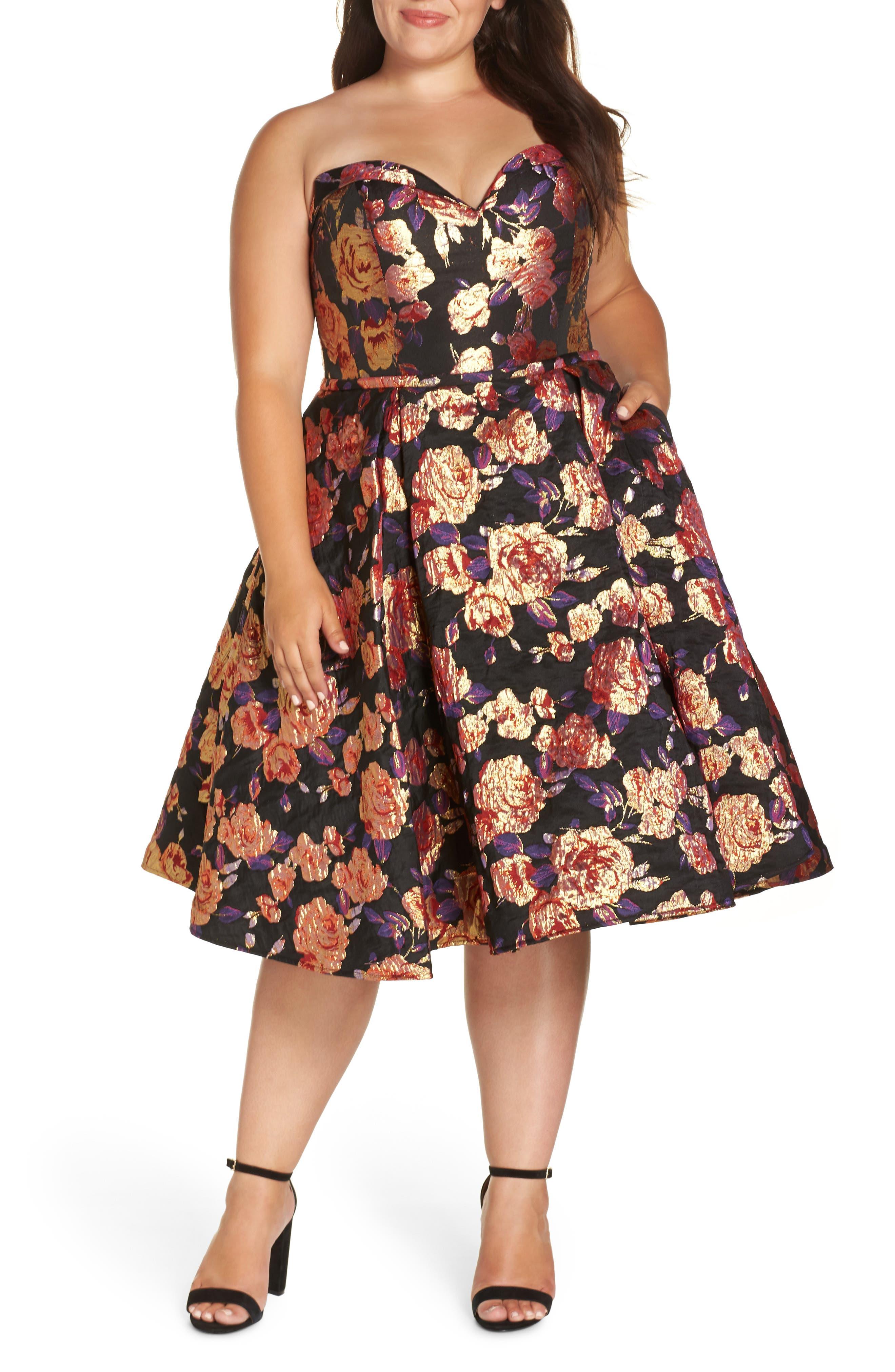 Plus Size MAC Duggal Bustier Floral Fit & Flare Dress, Black