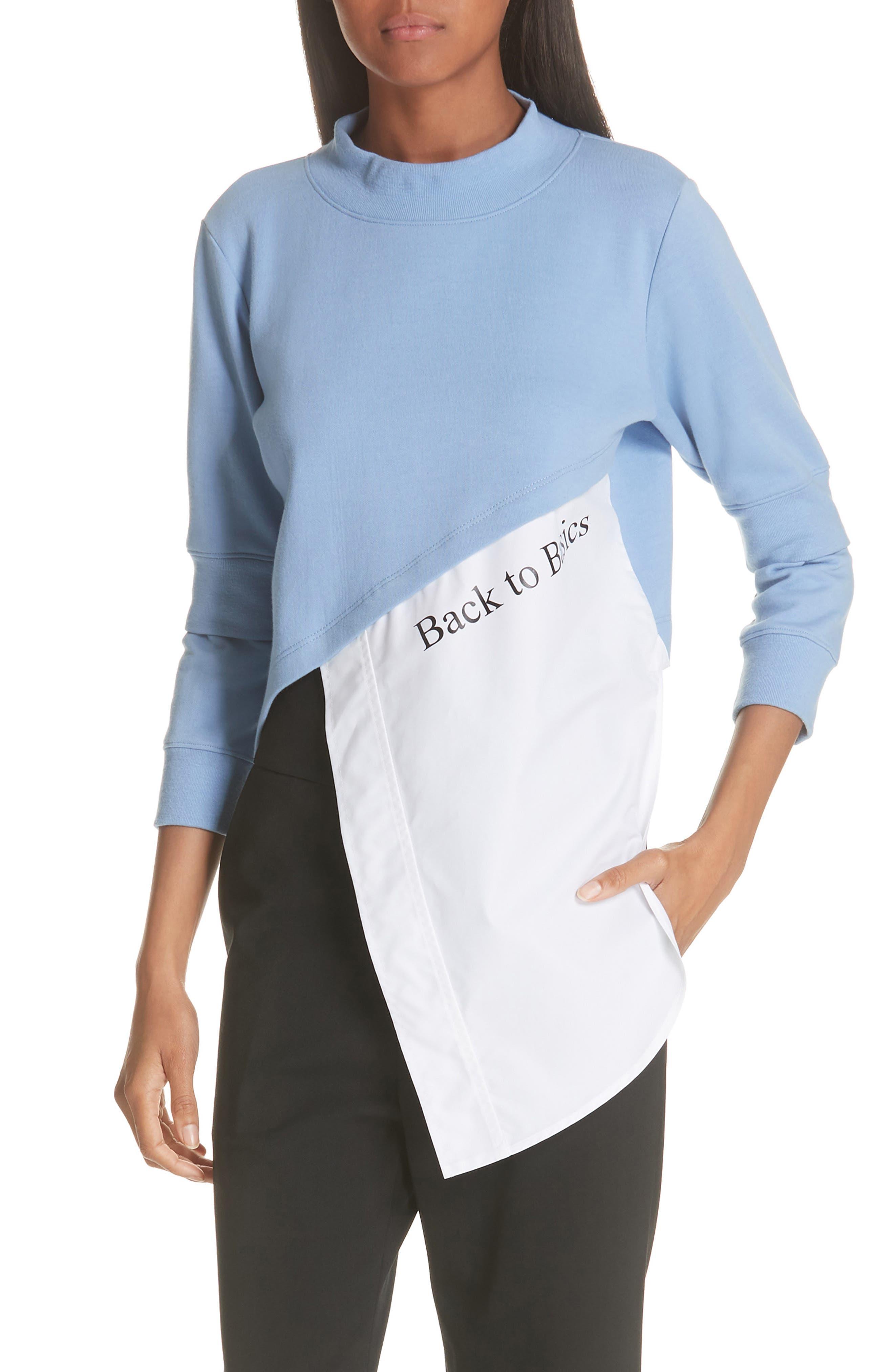 Asymmetrical Mixed Media Sweatshirt,                         Main,                         color, LIGHT BLUE/ WHITE