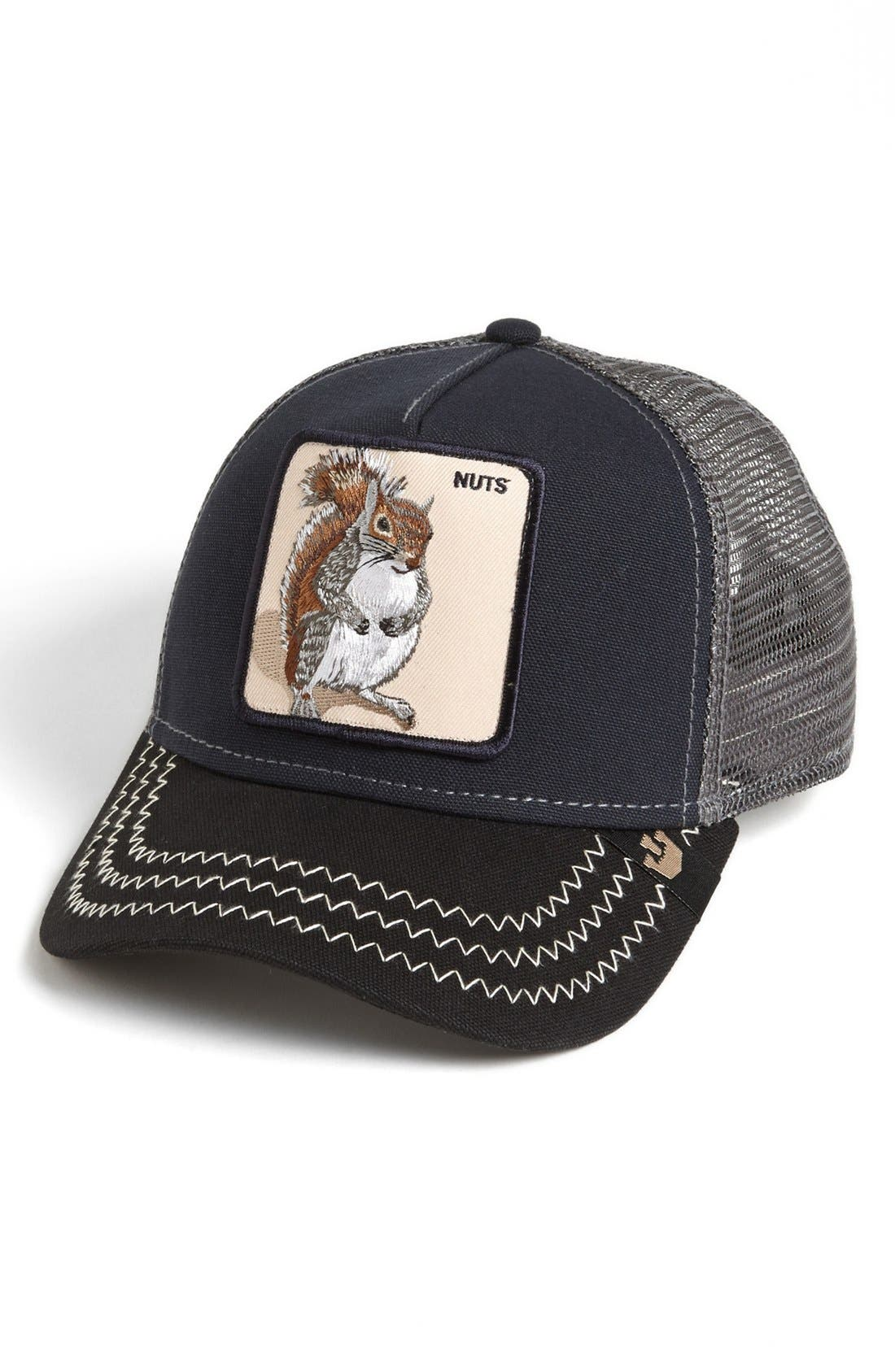 'Animal Farm - Squirrel Master' Snapback Trucker Hat,                         Main,                         color, NAVY
