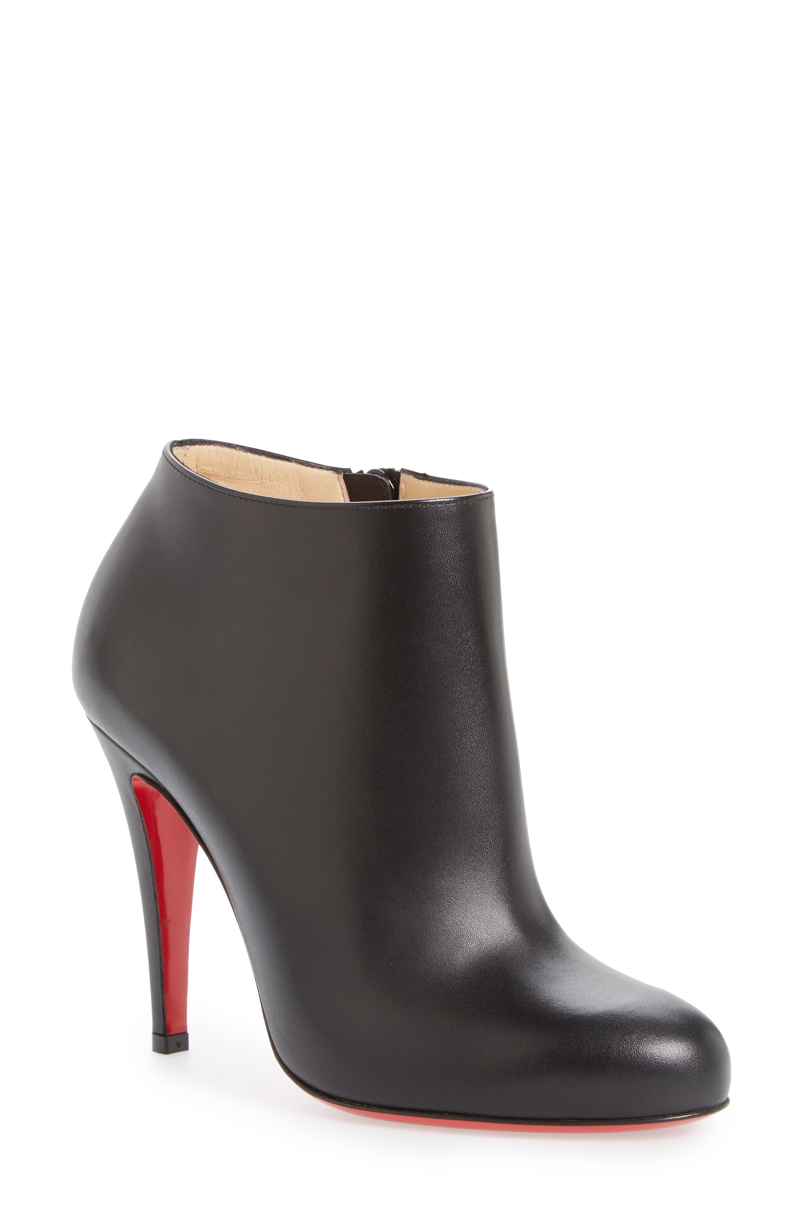 Belle Round Toe Bootie,                         Main,                         color, BLACK LEATHER