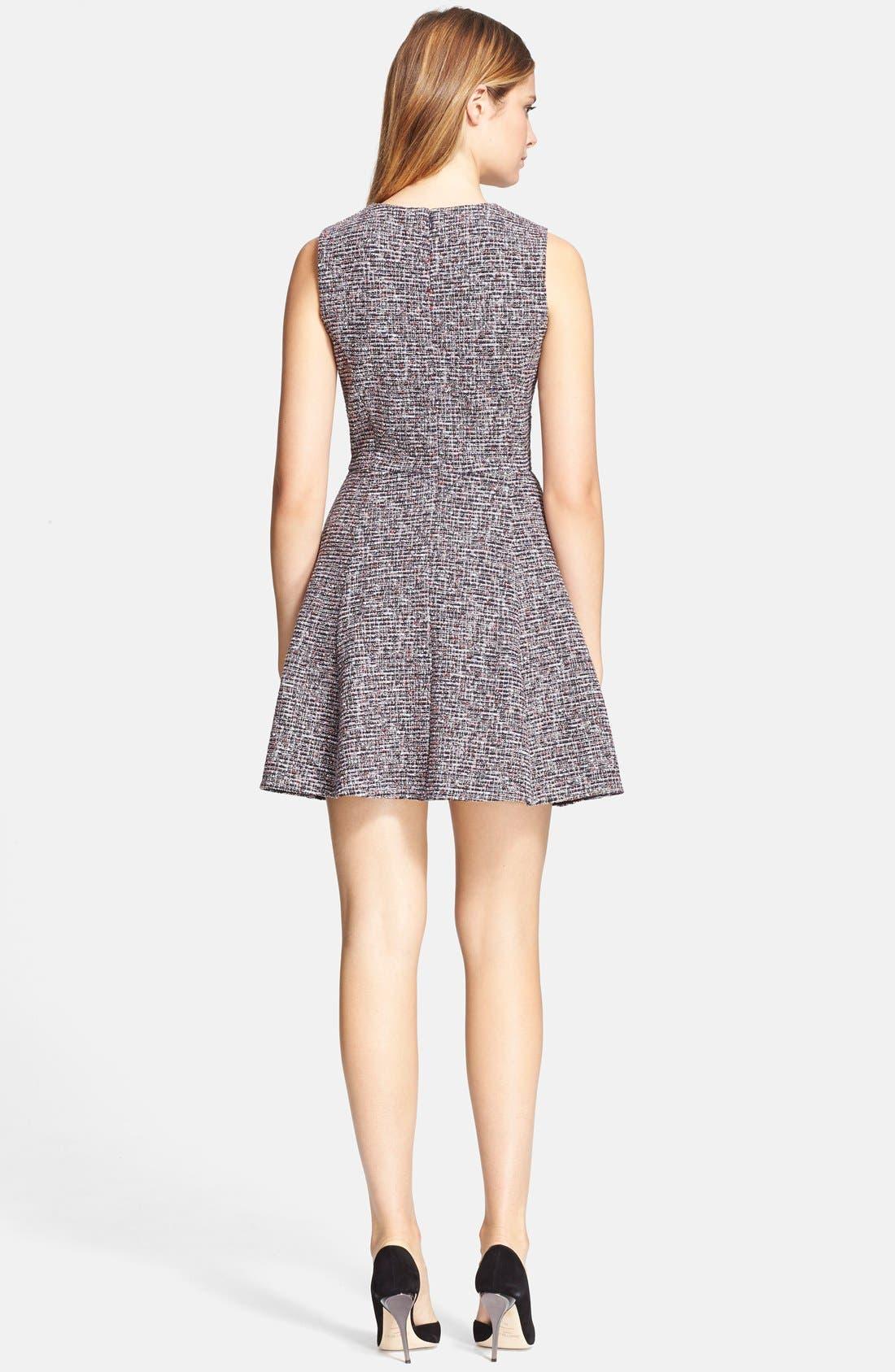 'Tillora' Tweed Fit & Flare Dress,                             Alternate thumbnail 3, color,                             001
