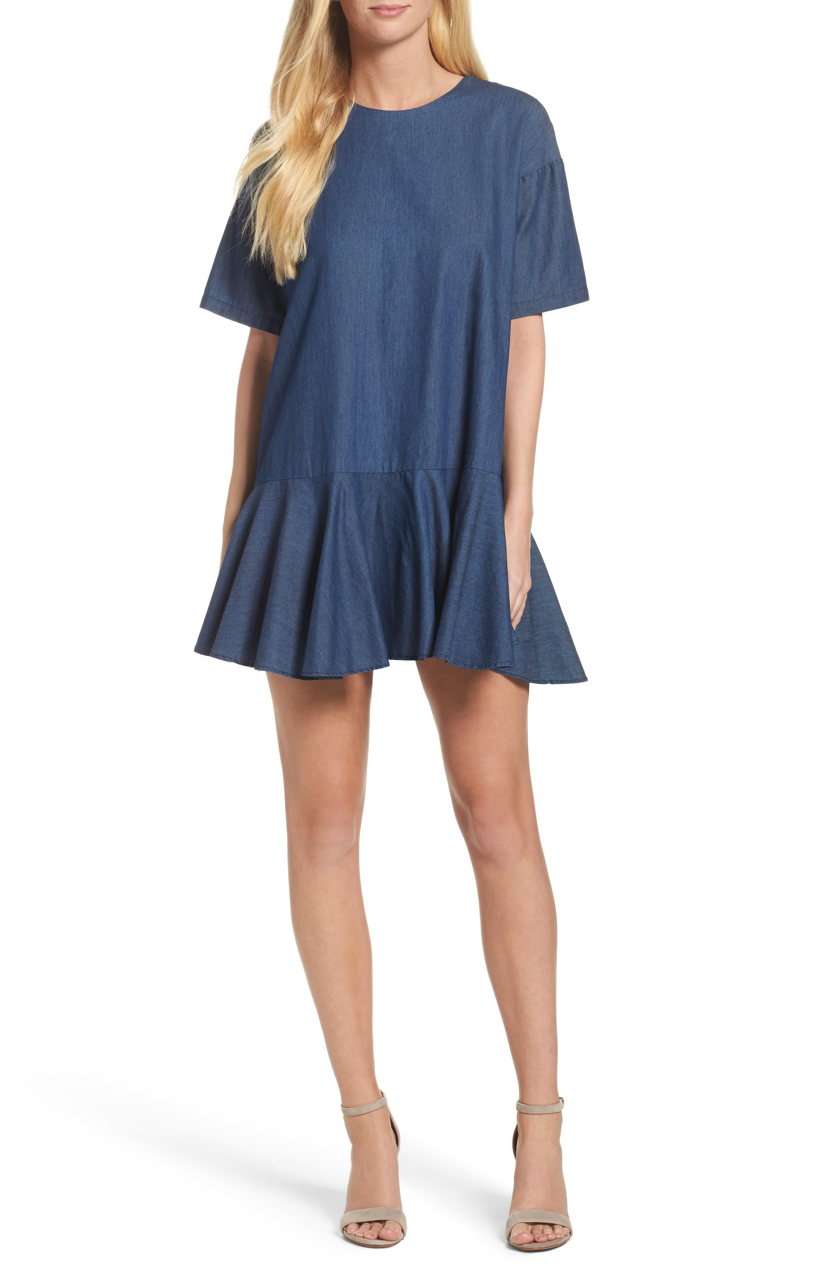 Arrow Chambray Babydoll Dress,                             Main thumbnail 1, color,                             478