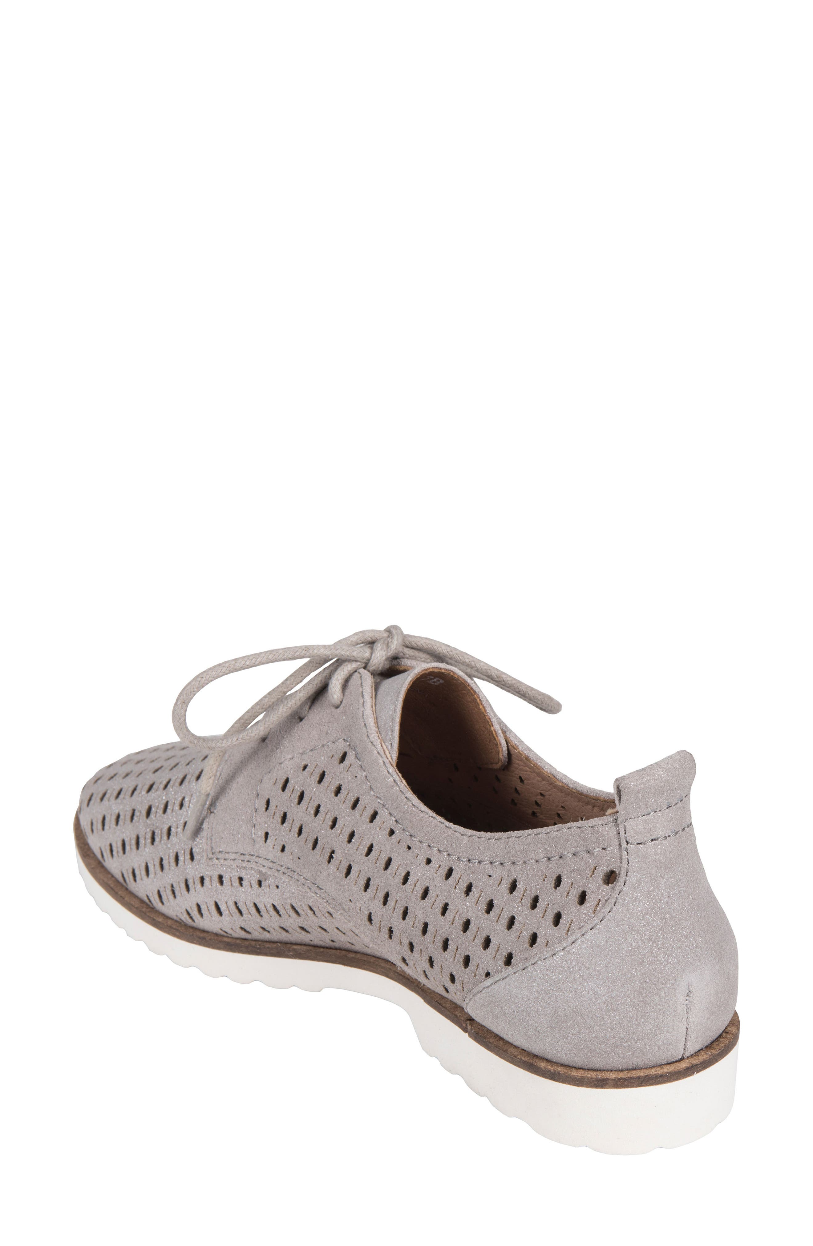 Camino Perforated Sneaker,                             Alternate thumbnail 2, color,                             SILVER METALLIC SUEDE