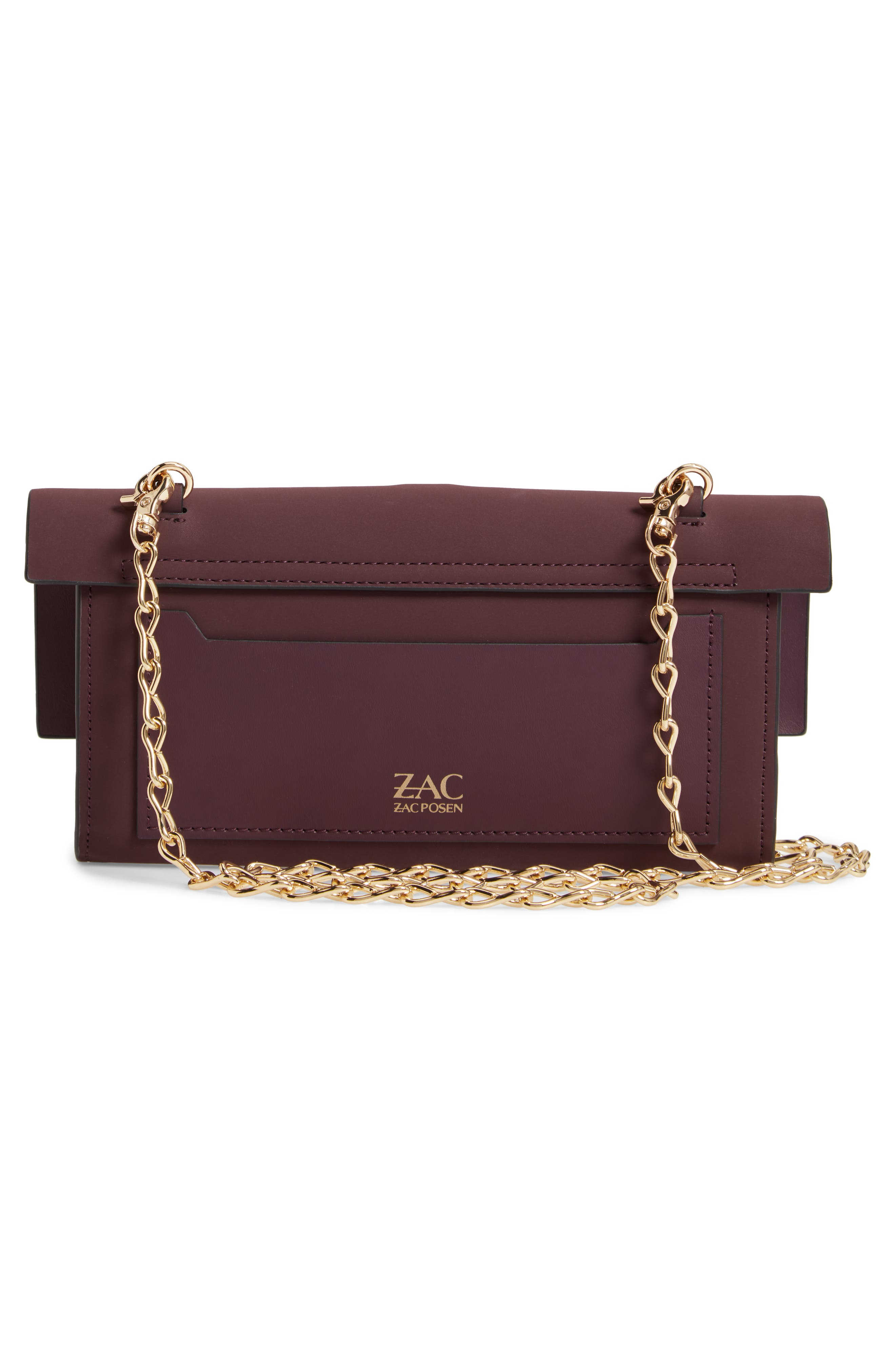 Belay Convertible Leather Clutch,                             Alternate thumbnail 3, color,                             VINEYARD