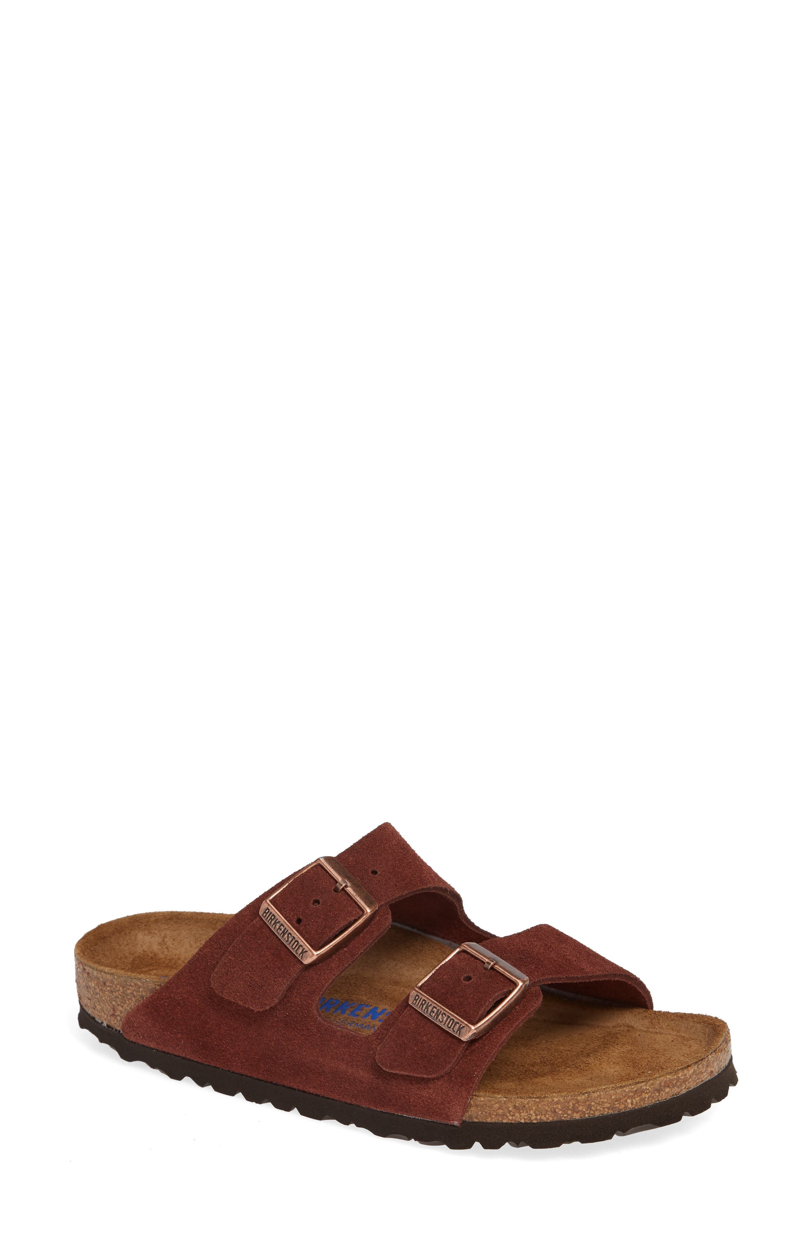 'Arizona' Soft Footbed Suede Sandal,                             Main thumbnail 1, color,                             PORT SUEDE