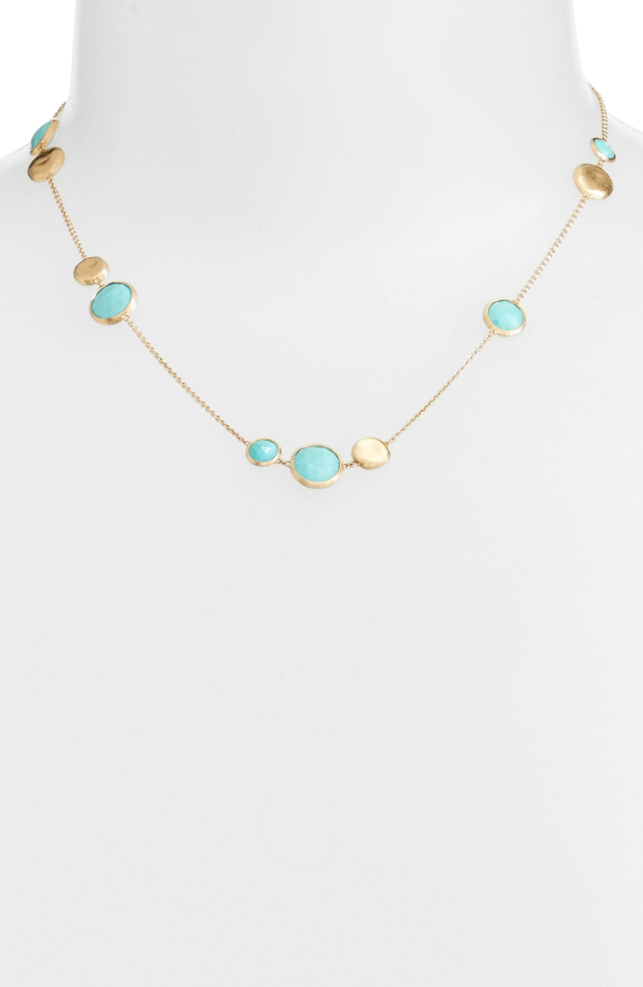 Jaipur Stone Collar Necklace,                             Alternate thumbnail 2, color,                             YELLOW GOLD/ TURQUOISE