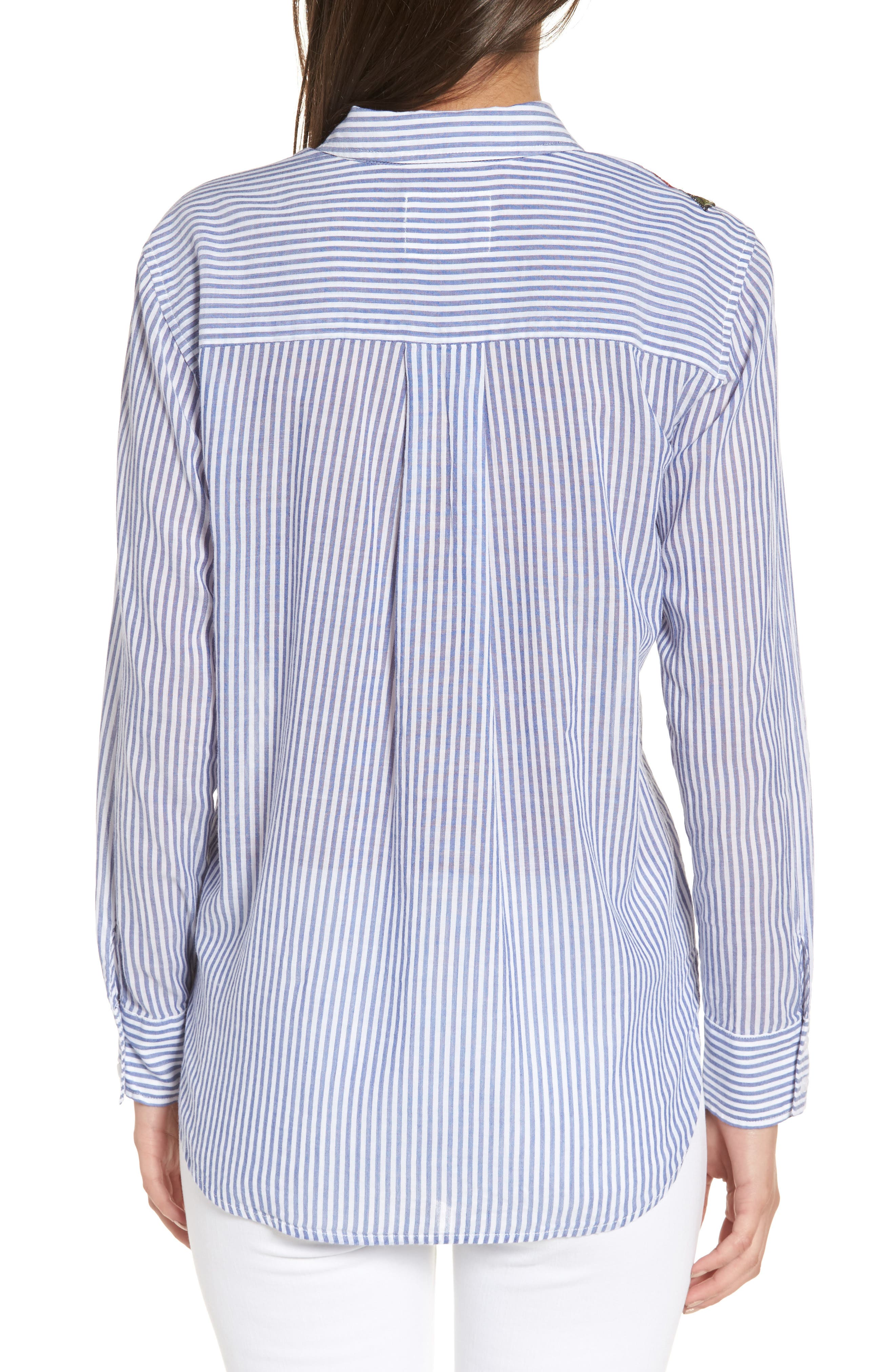 Frances Embroidered Stripe Shirt,                             Alternate thumbnail 2, color,                             425