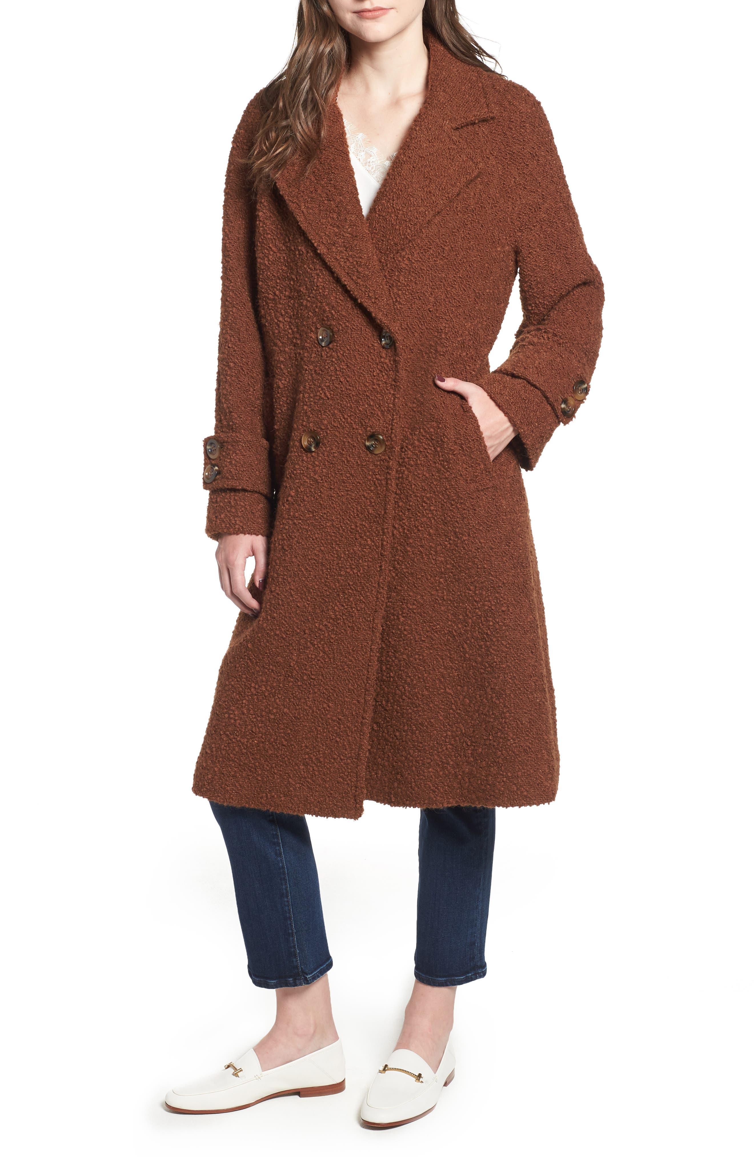 London Genuine Fox Fur Trim Long Coat,                             Alternate thumbnail 4, color,                             MOCHA