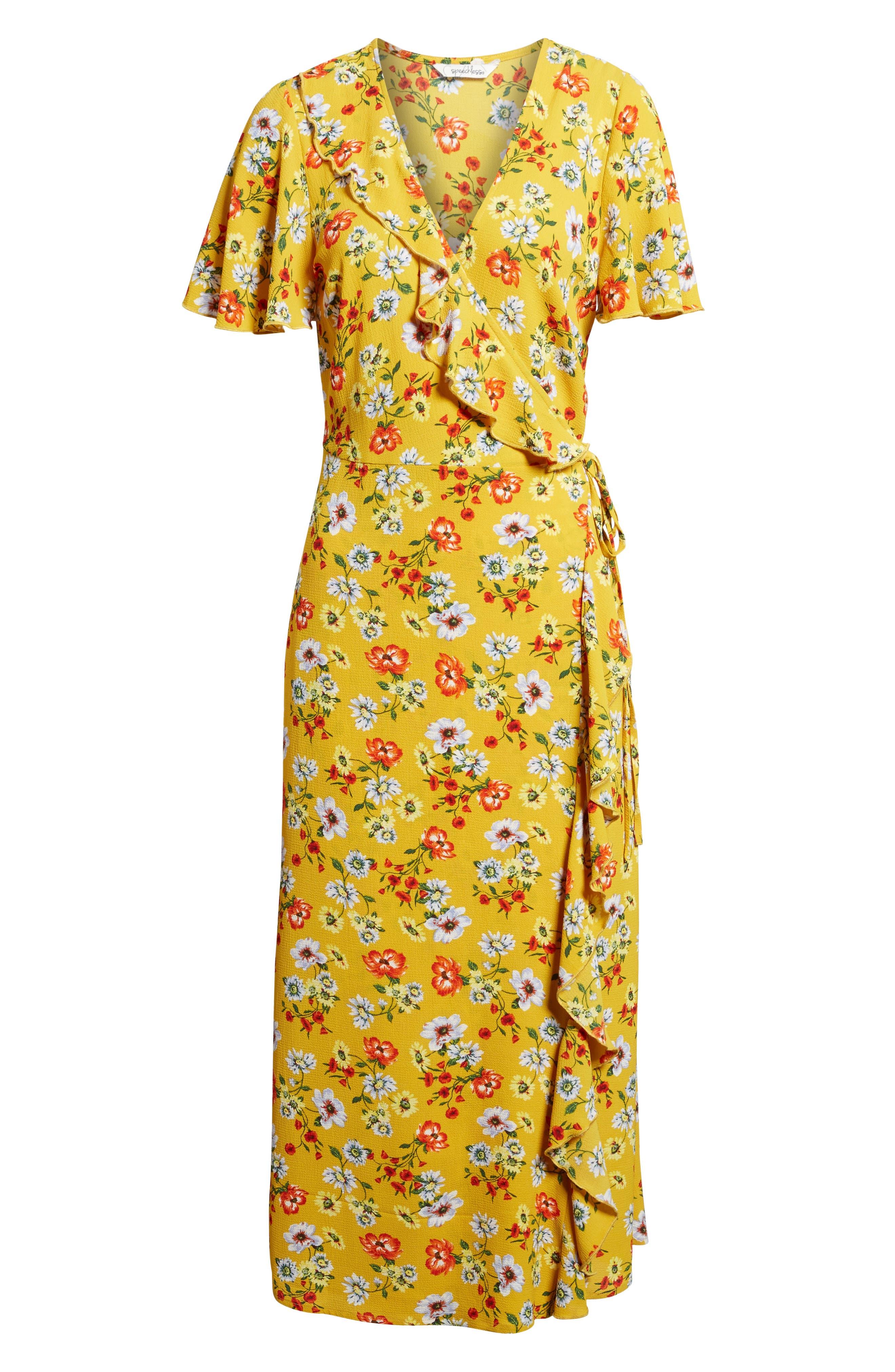 Ruffle Wrap Midi Dress,                             Alternate thumbnail 6, color,                             700