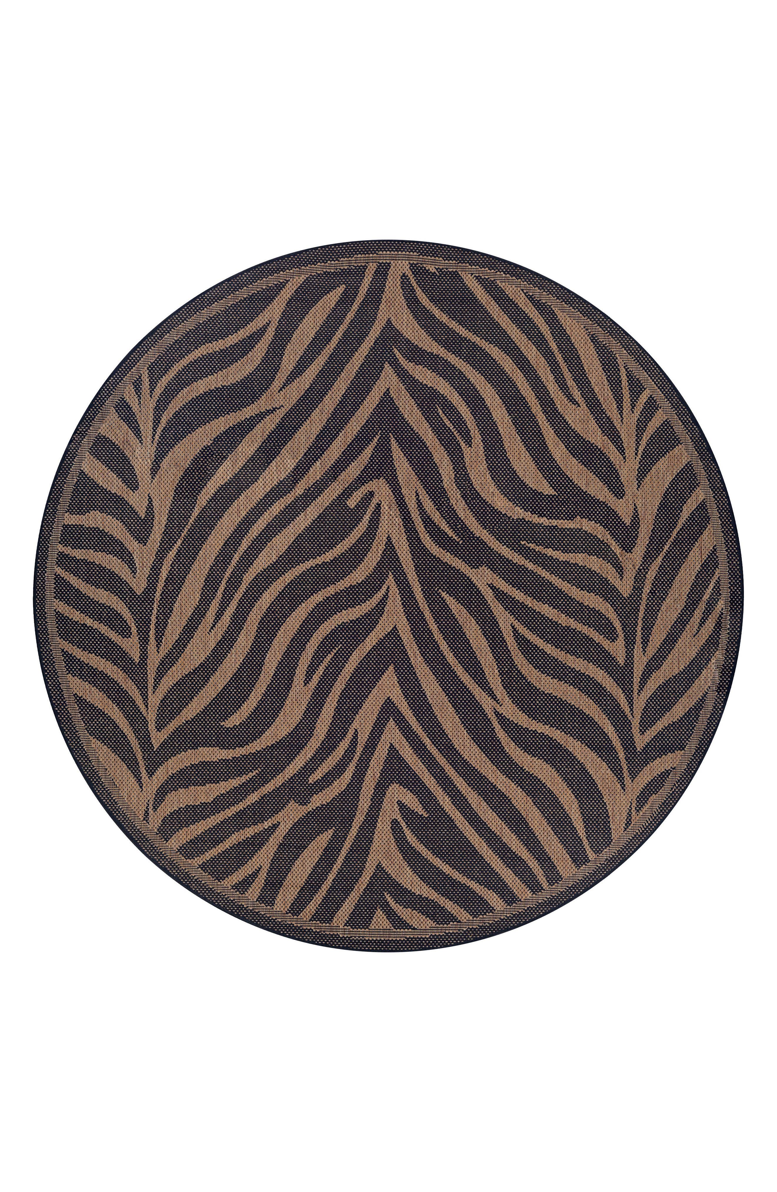 Recife Zebra Indoor/Outdoor Rug,                             Alternate thumbnail 2, color,                             BLACK/ COCOA