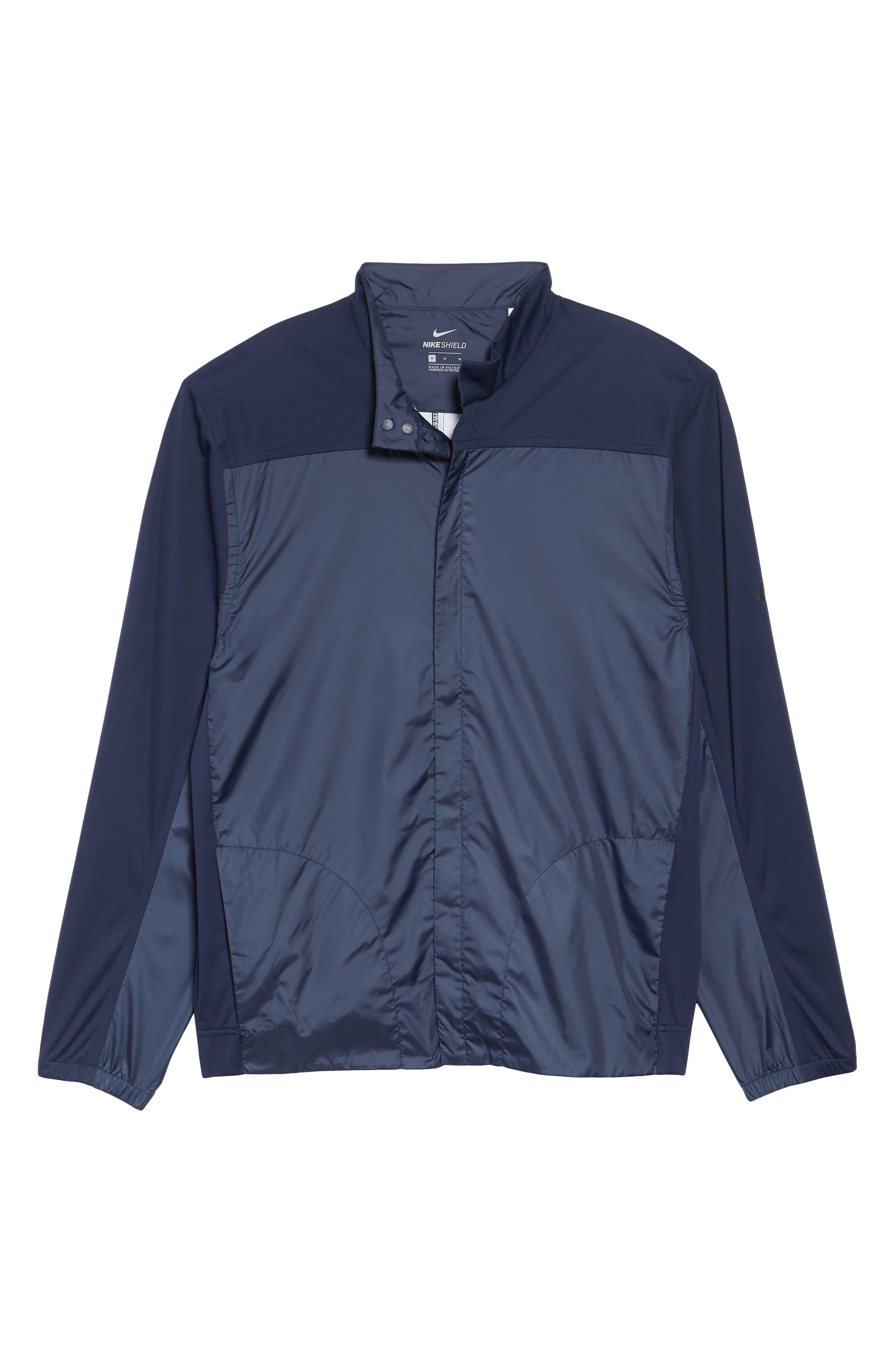 Shield Core Zip Golf Jacket,                             Alternate thumbnail 6, color,                             OBSIDIAN/ OBSIDIAN/ BLACK