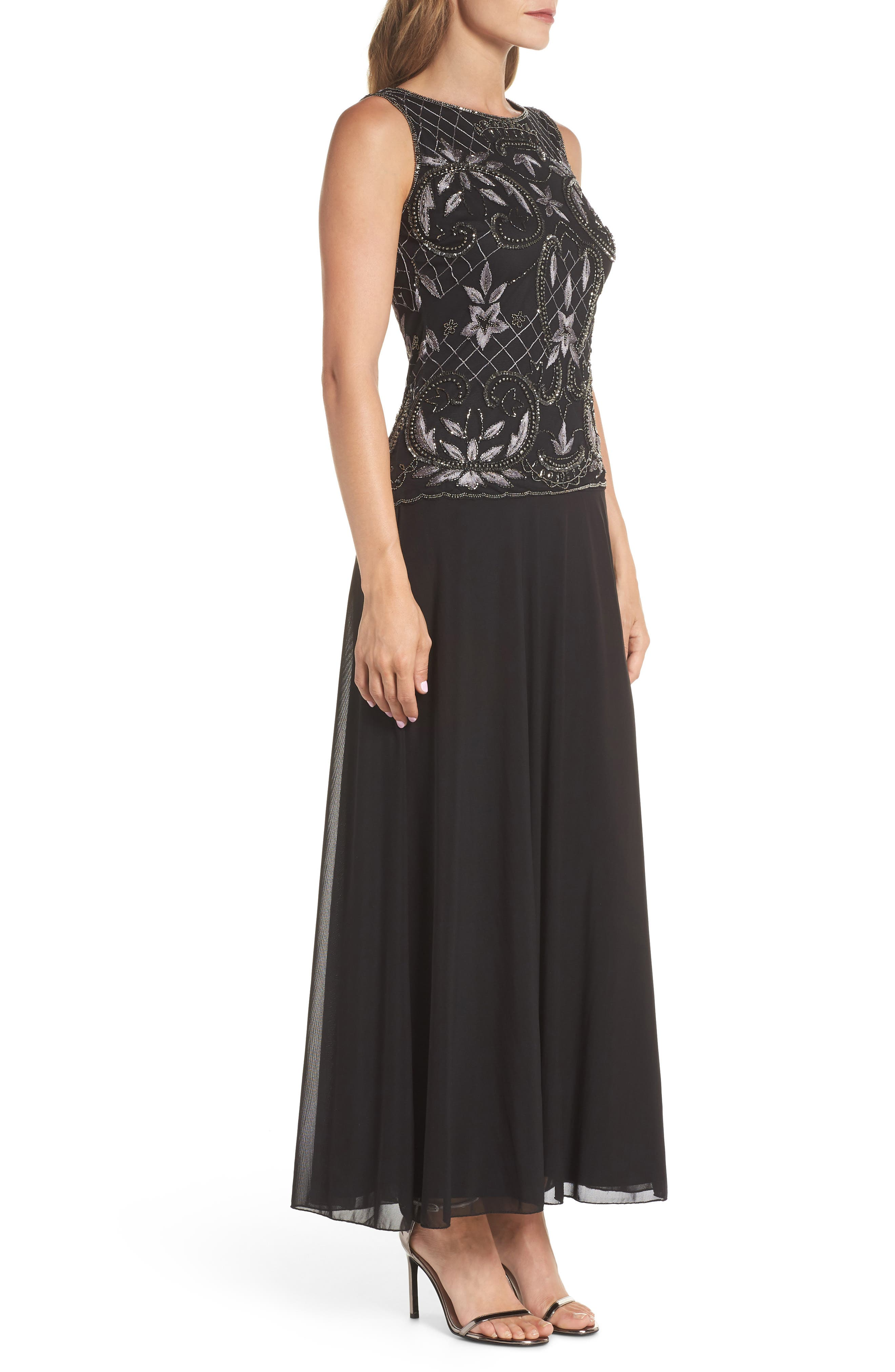Embellished Mock Two-Piece Gown,                             Alternate thumbnail 3, color,                             008