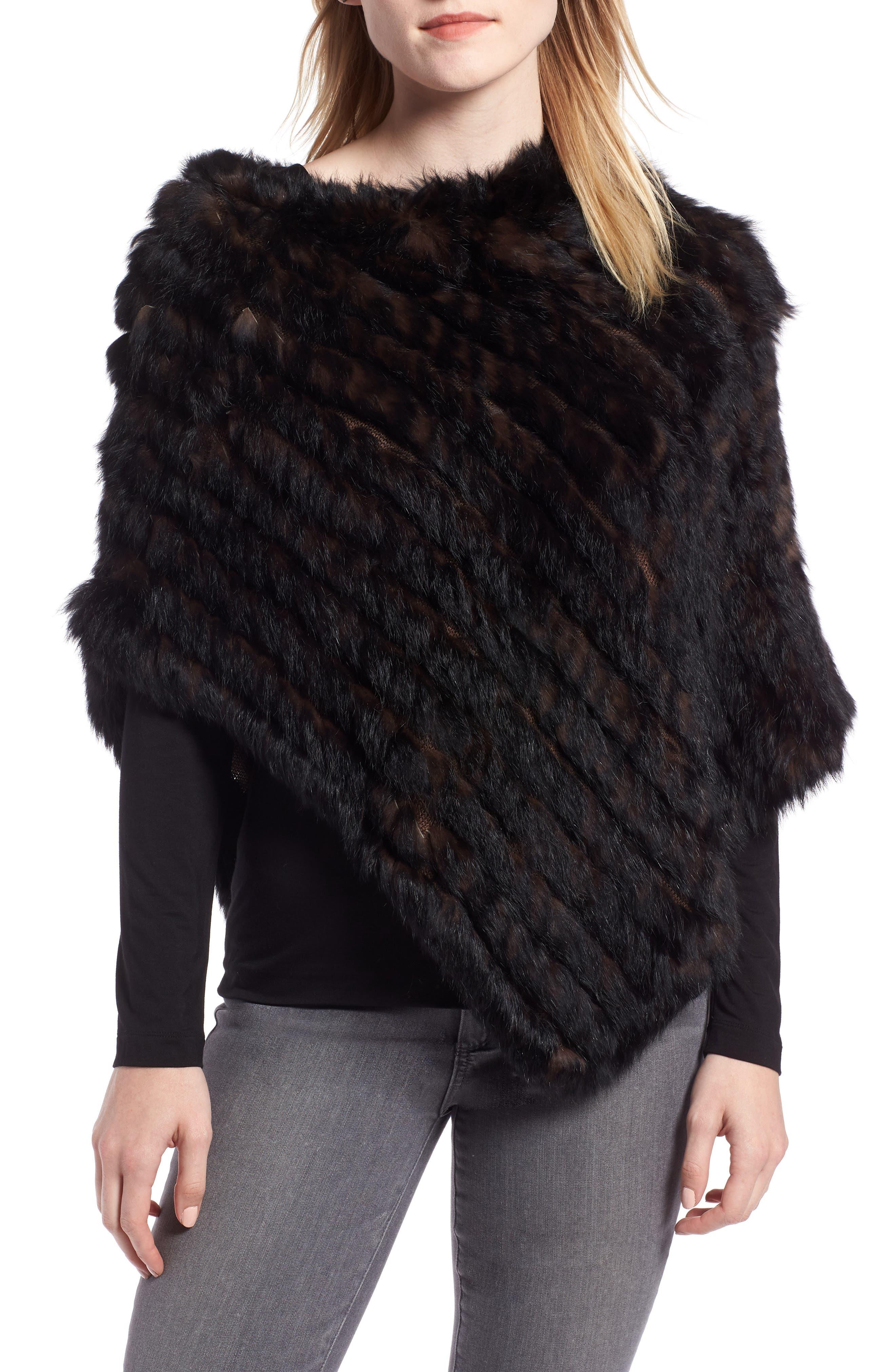 Genuine Rabbit Fur Poncho,                         Main,                         color, BROWN