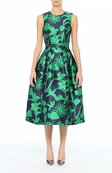 Leaf Print Belted Mikado Dress, video thumbnail