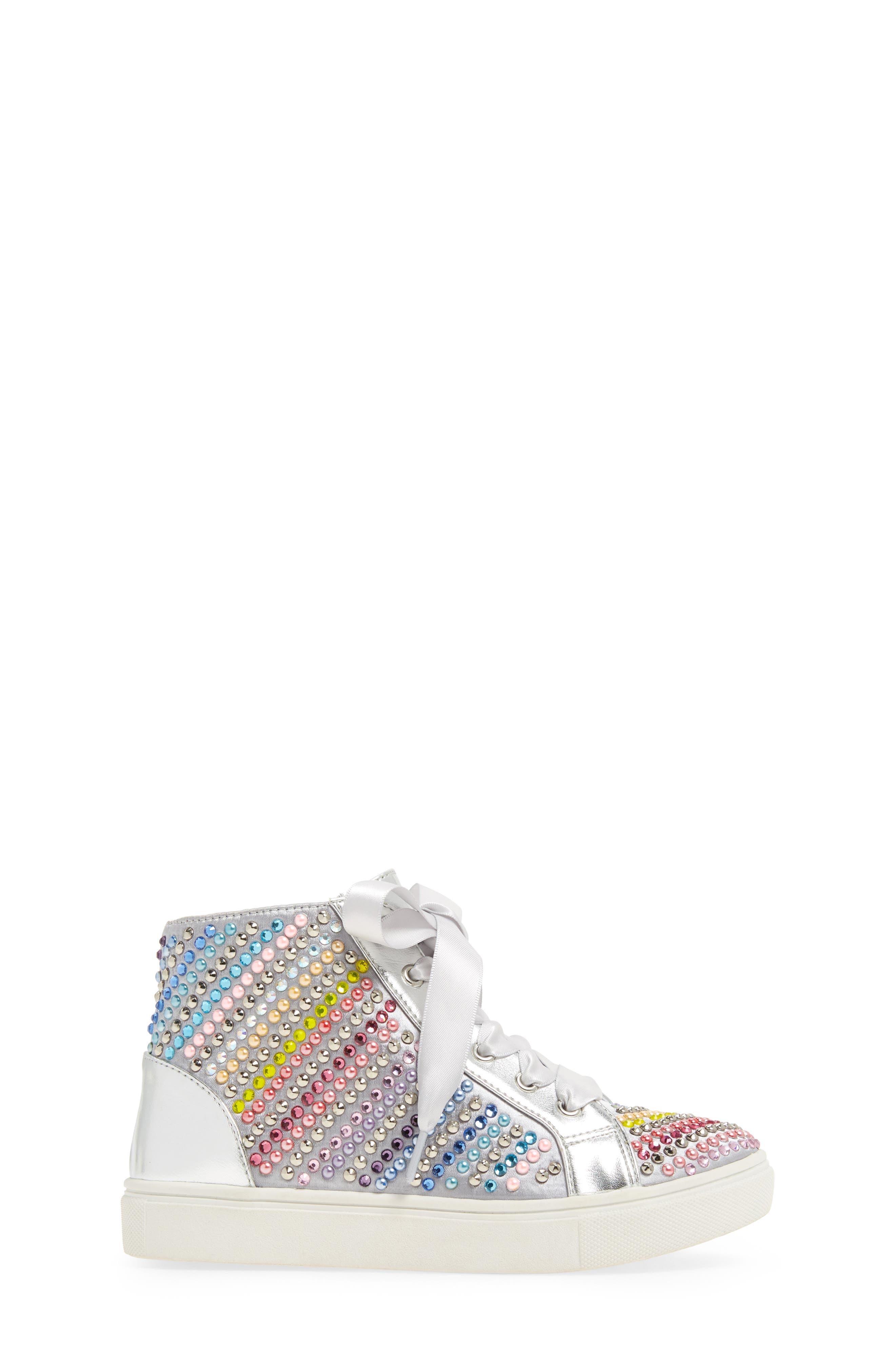 Rainey Rainbow Studded High Top Sneaker,                             Alternate thumbnail 3, color,                             040