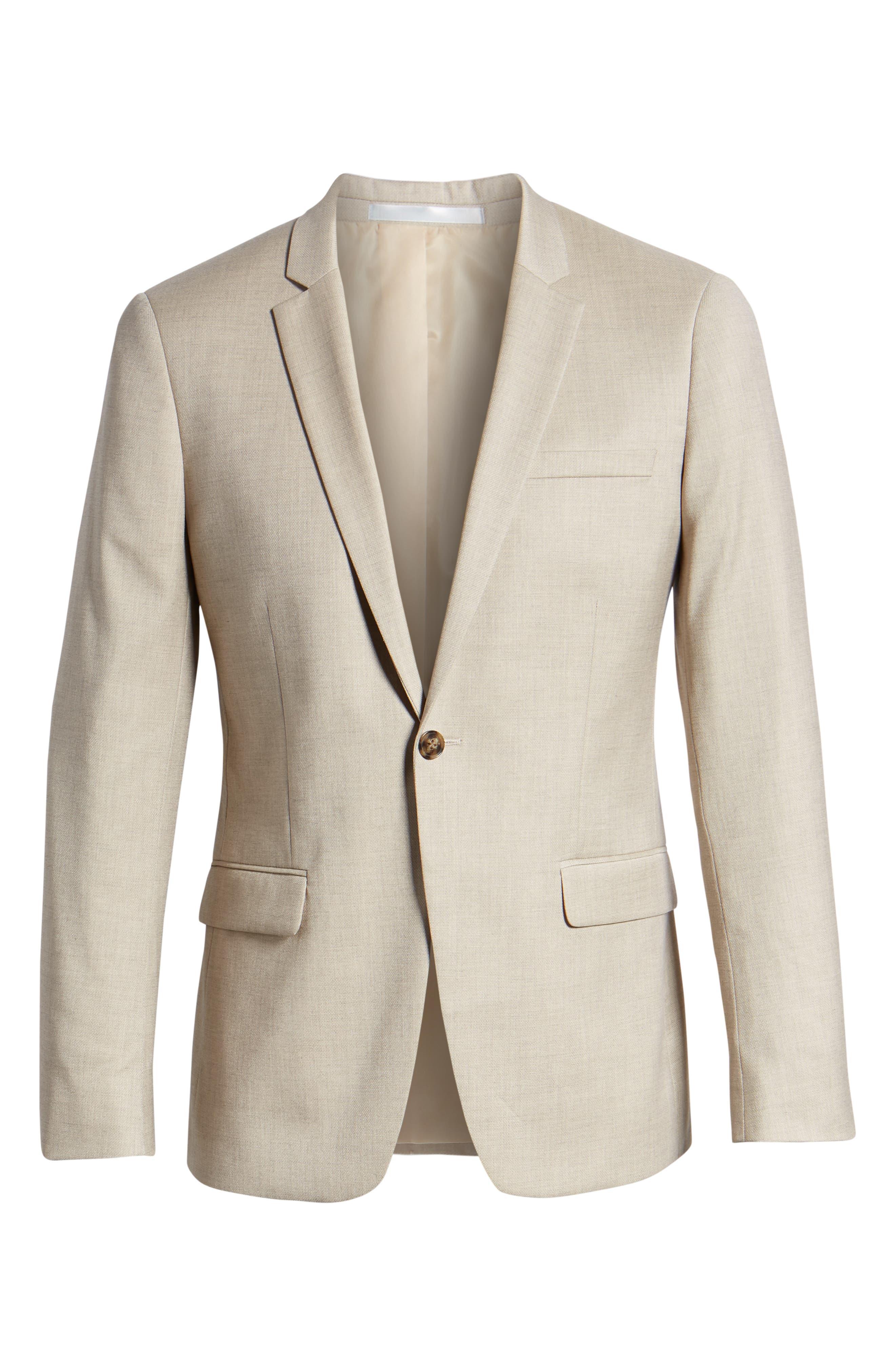 Skinny Fit Check Suit Jacket,                             Alternate thumbnail 5, color,                             250