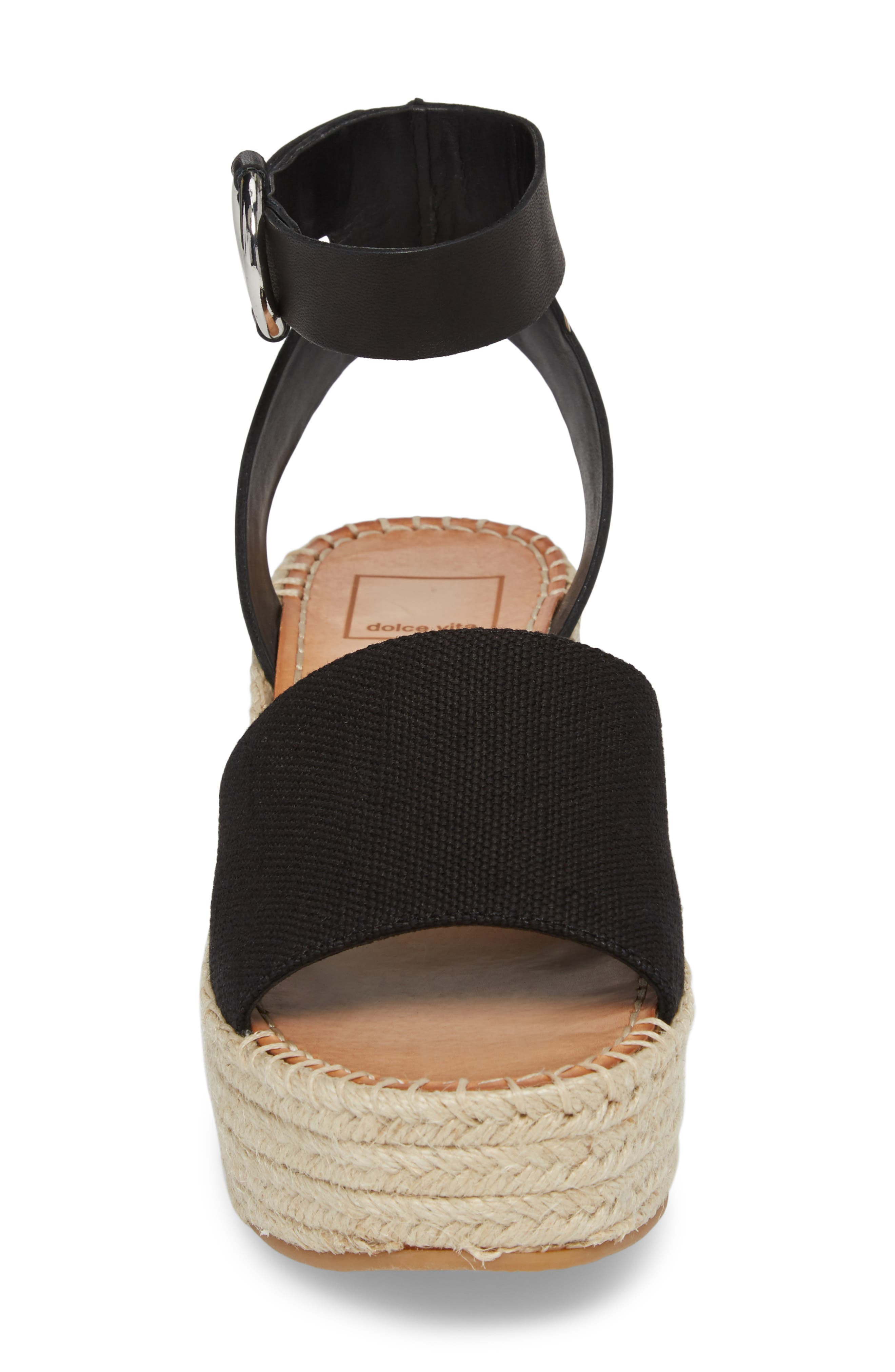 Lesly Espadrille Platform Sandal,                             Alternate thumbnail 4, color,                             001