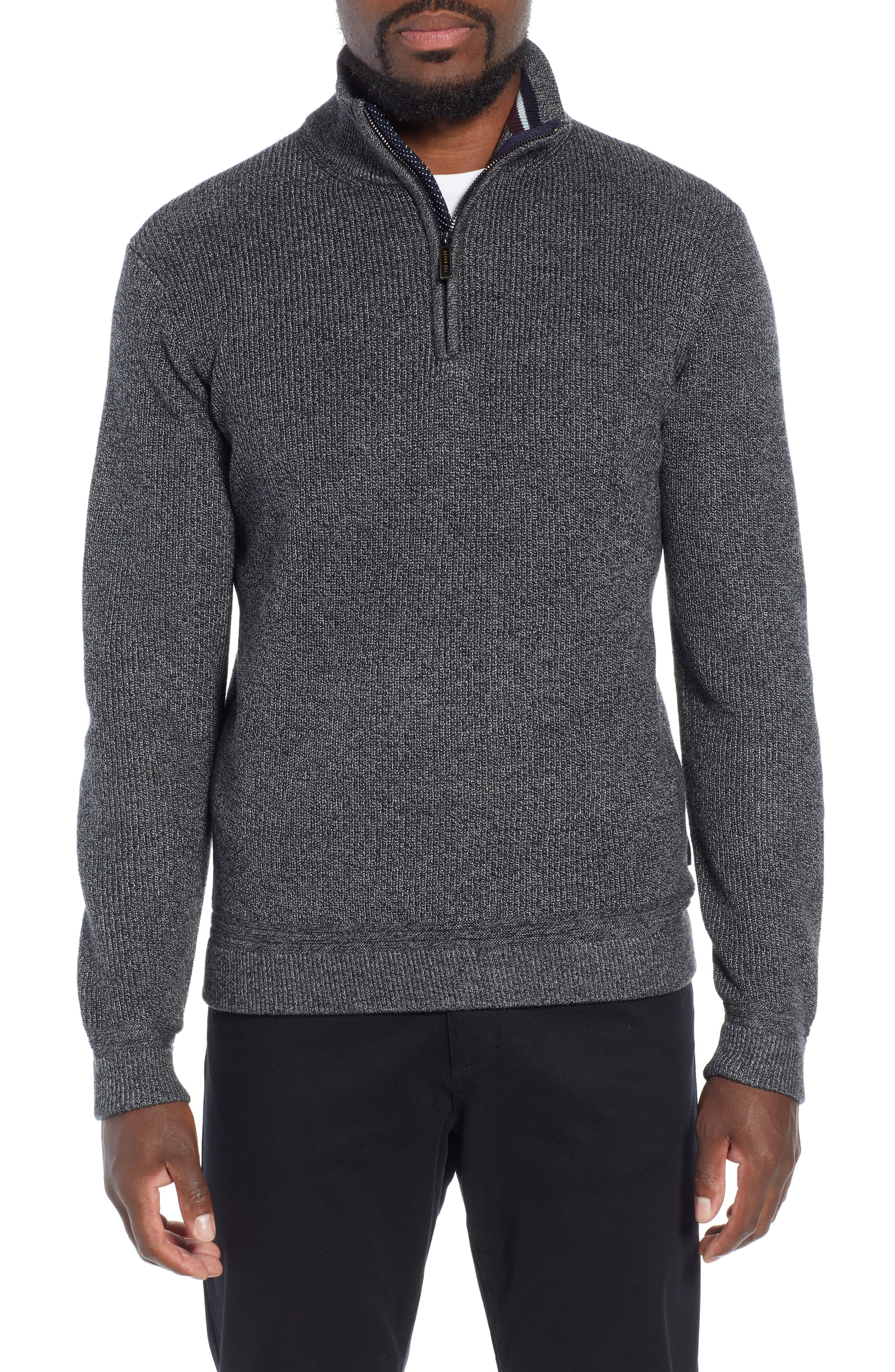 Lohas Slim Fit Funnel Neck Sweater,                             Main thumbnail 1, color,                             CHARCOAL