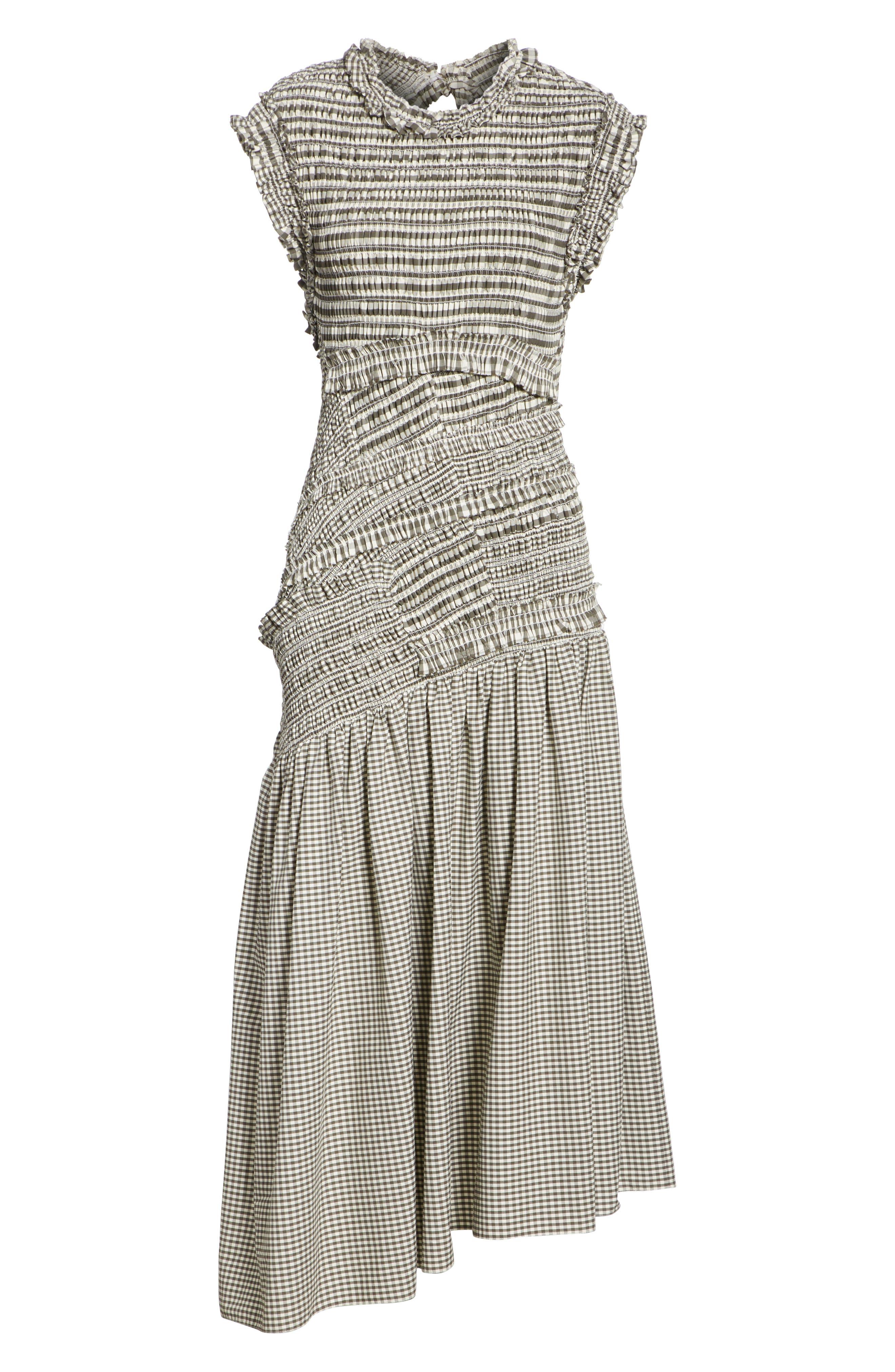 Gathered Gingham Drop Waist Dress,                             Alternate thumbnail 6, color,                             033