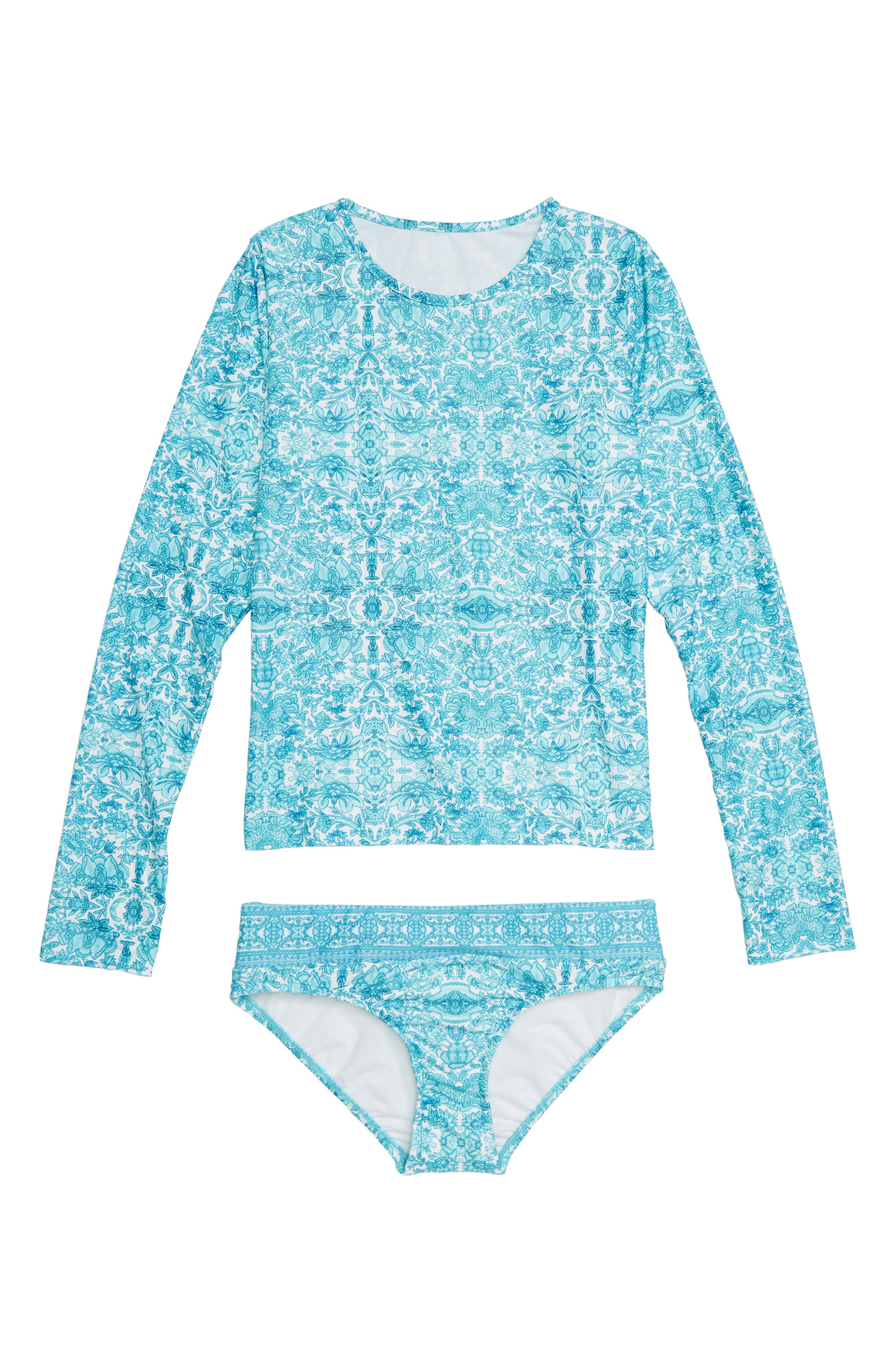 Ocean Tapestry Two-Piece Rashguard Swimsuit,                             Main thumbnail 1, color,                             400