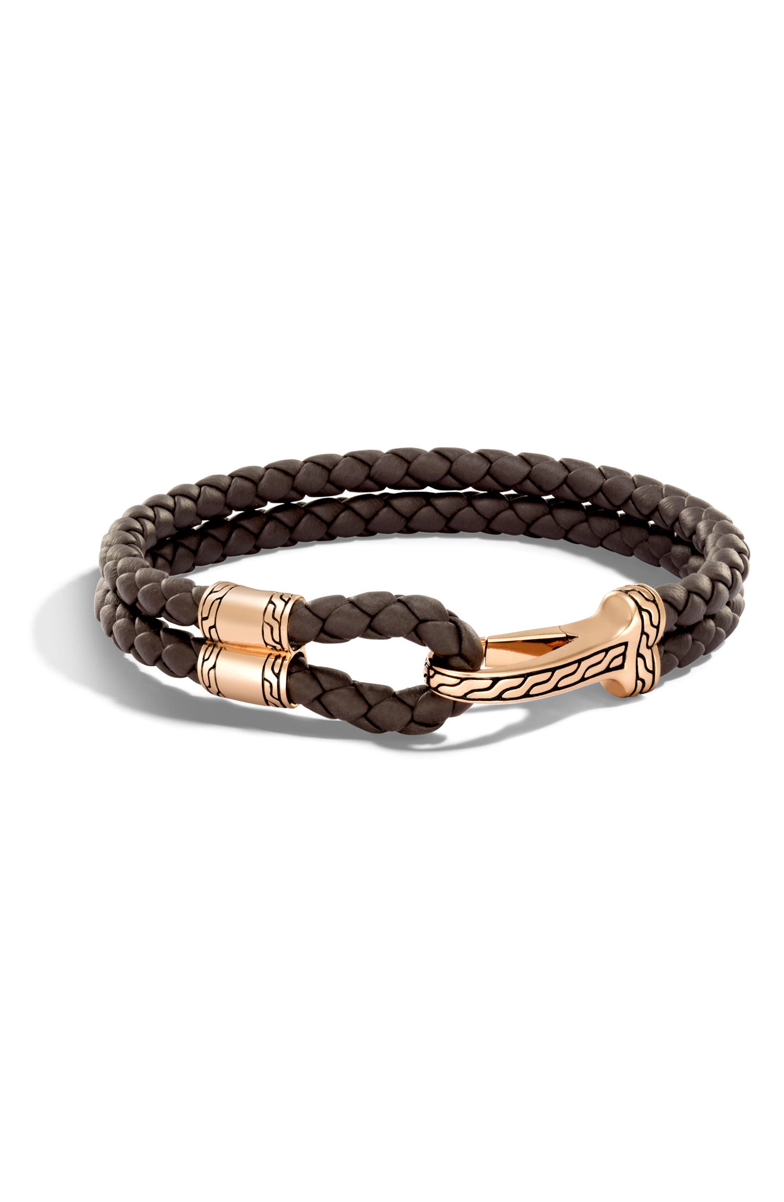 Classic Double Leather Chain Bronze Hook Bracelet,                             Main thumbnail 1, color,                             BRONZE