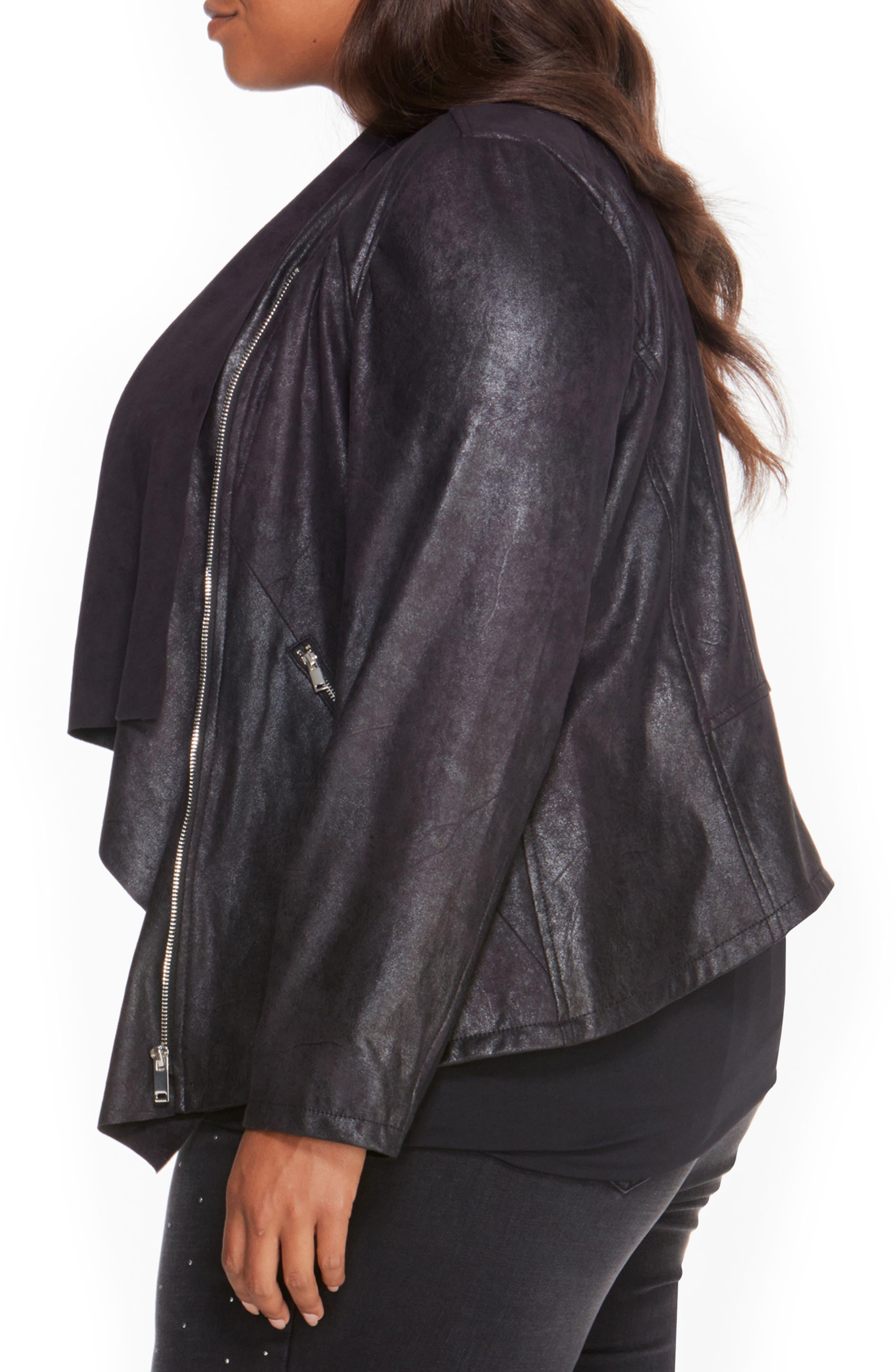 Asymmetrical Faux Leather Jacket,                             Alternate thumbnail 3, color,                             001