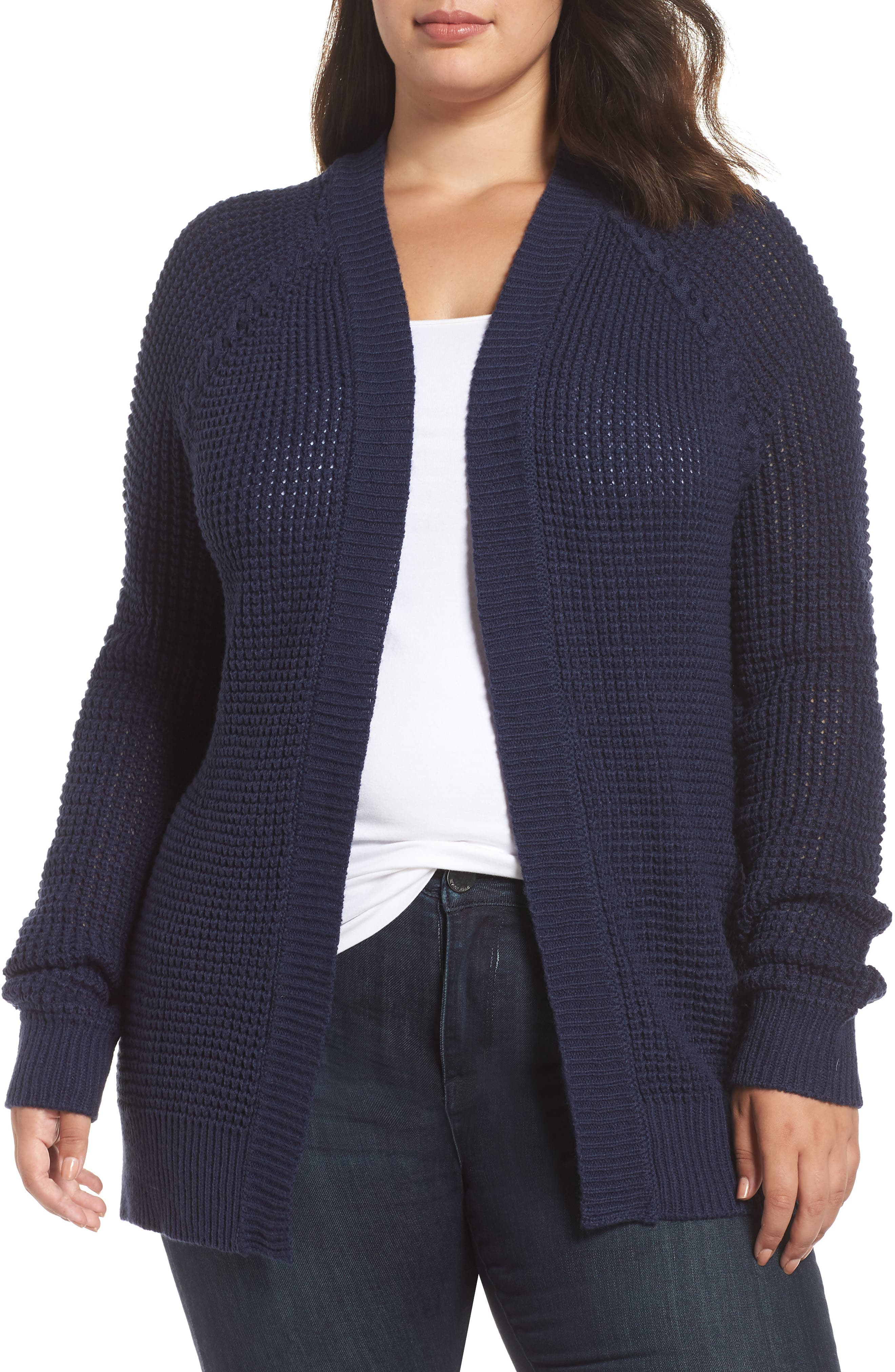 Braided Shoulder Cardigan,                             Main thumbnail 1, color,                             NAVY PEACOAT