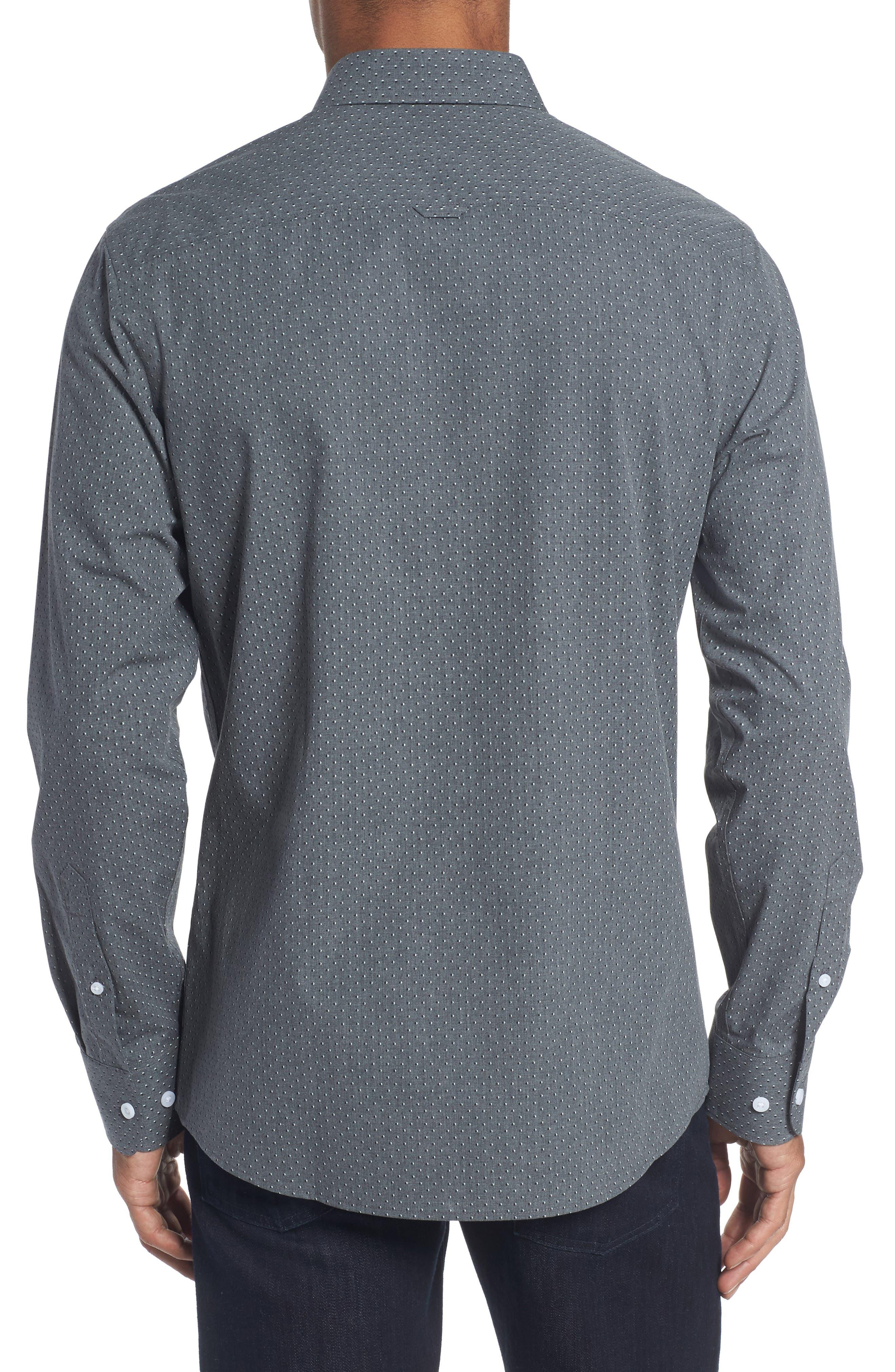 Trim Fit Non-Iron Dot Print Sport Shirt,                             Alternate thumbnail 2, color,                             030