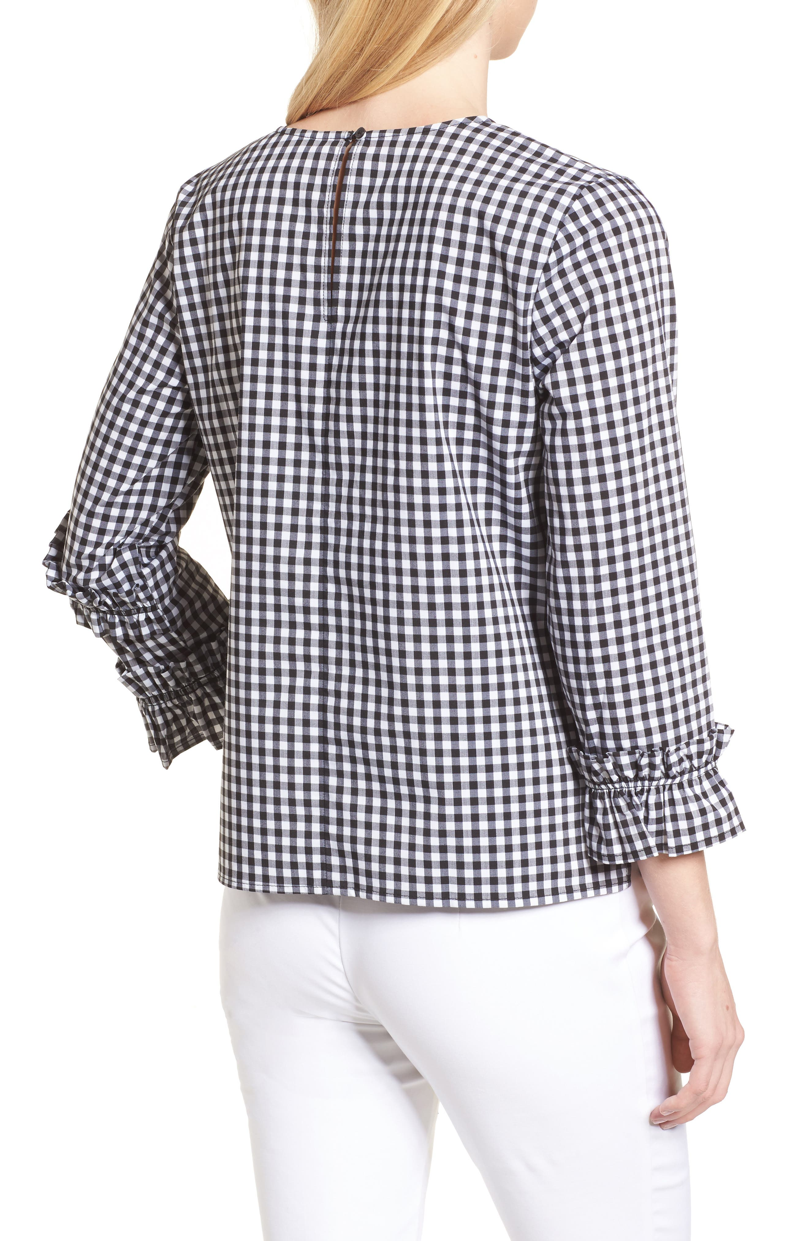 Ruffle Detail Poplin Shirt,                             Alternate thumbnail 2, color,                             001