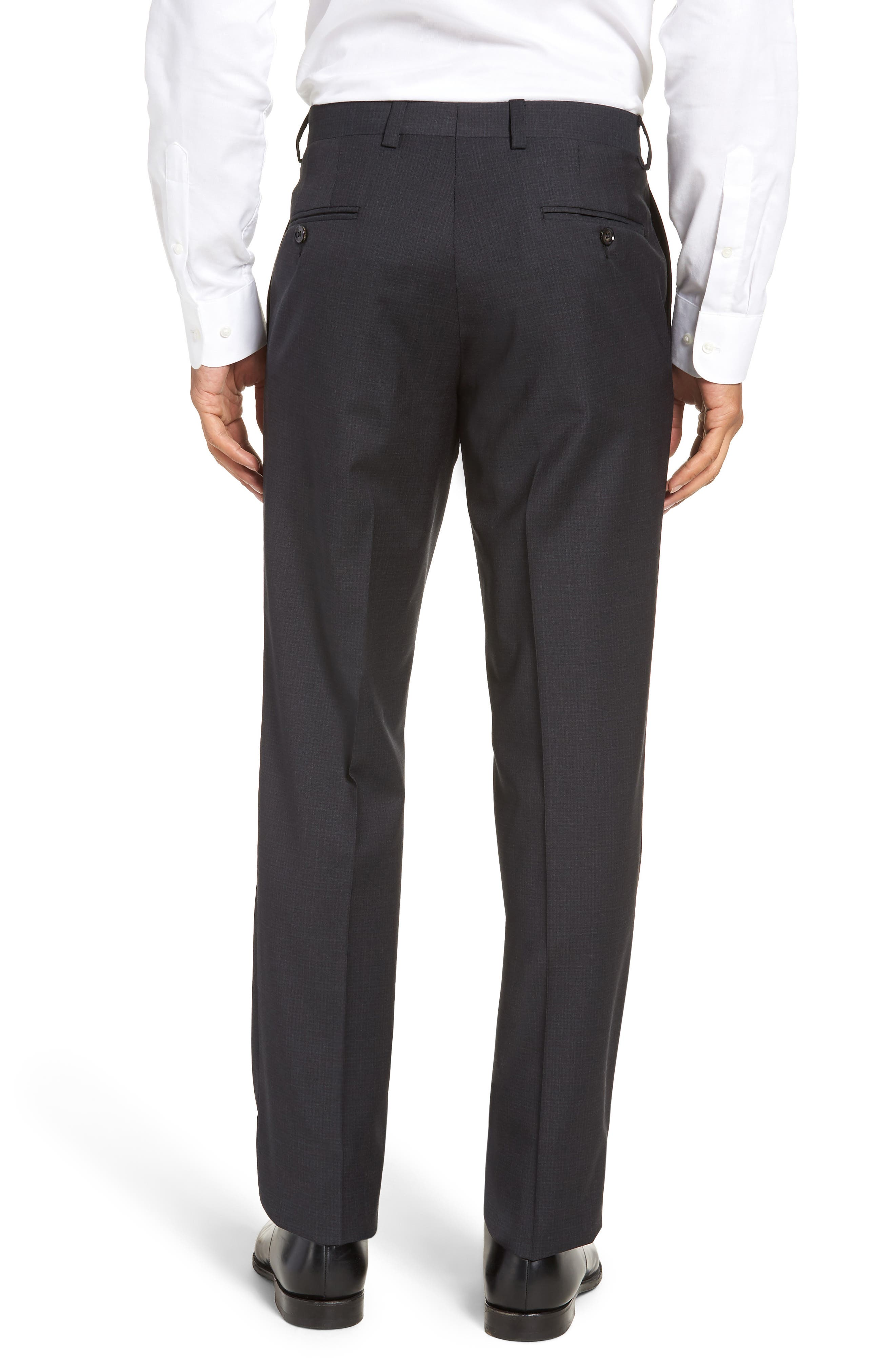Jefferson Flat Front Check Wool Trousers,                             Alternate thumbnail 2, color,                             BROWN