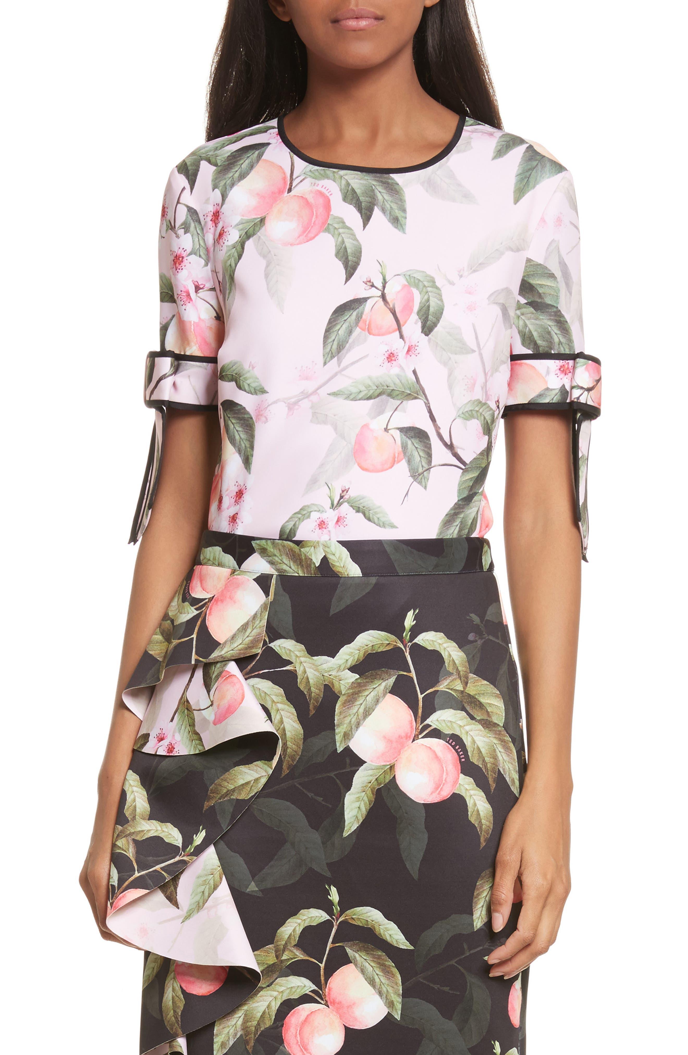 Peach Blossom Bow Sleeve Top,                             Main thumbnail 1, color,                             683