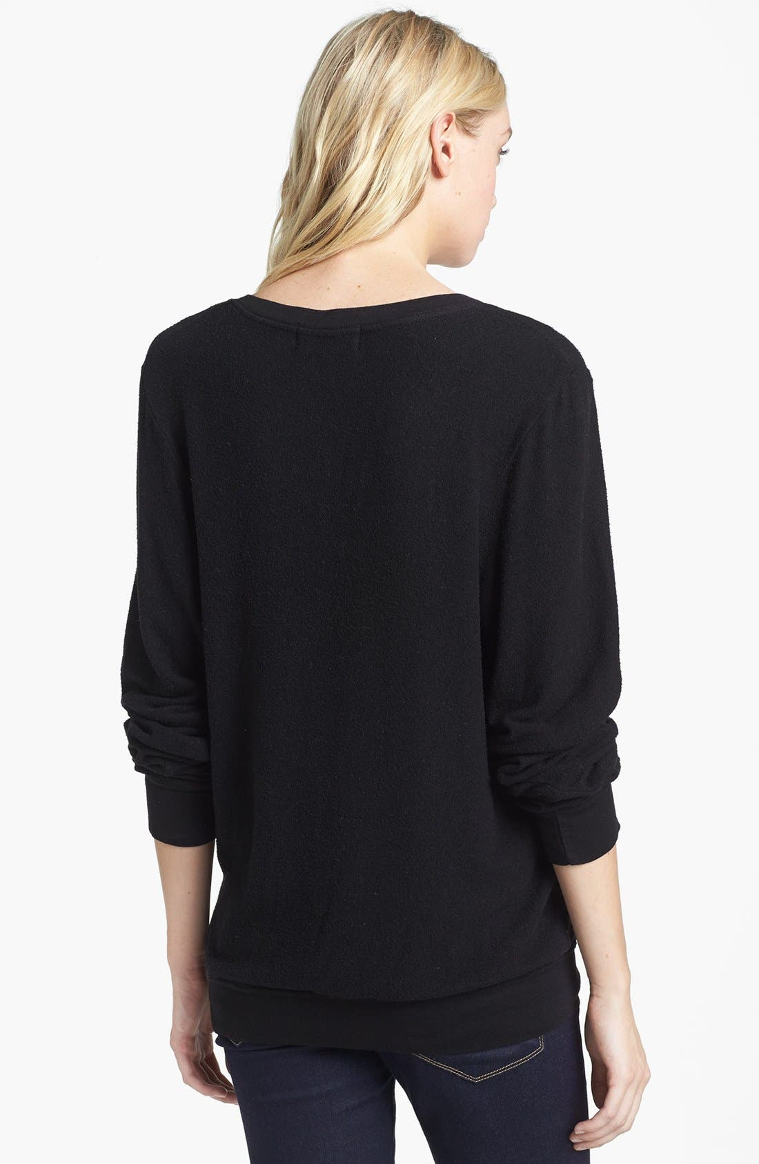 WILDFOX,                             'Anchor' V-Neck Sweater,                             Alternate thumbnail 2, color,                             001