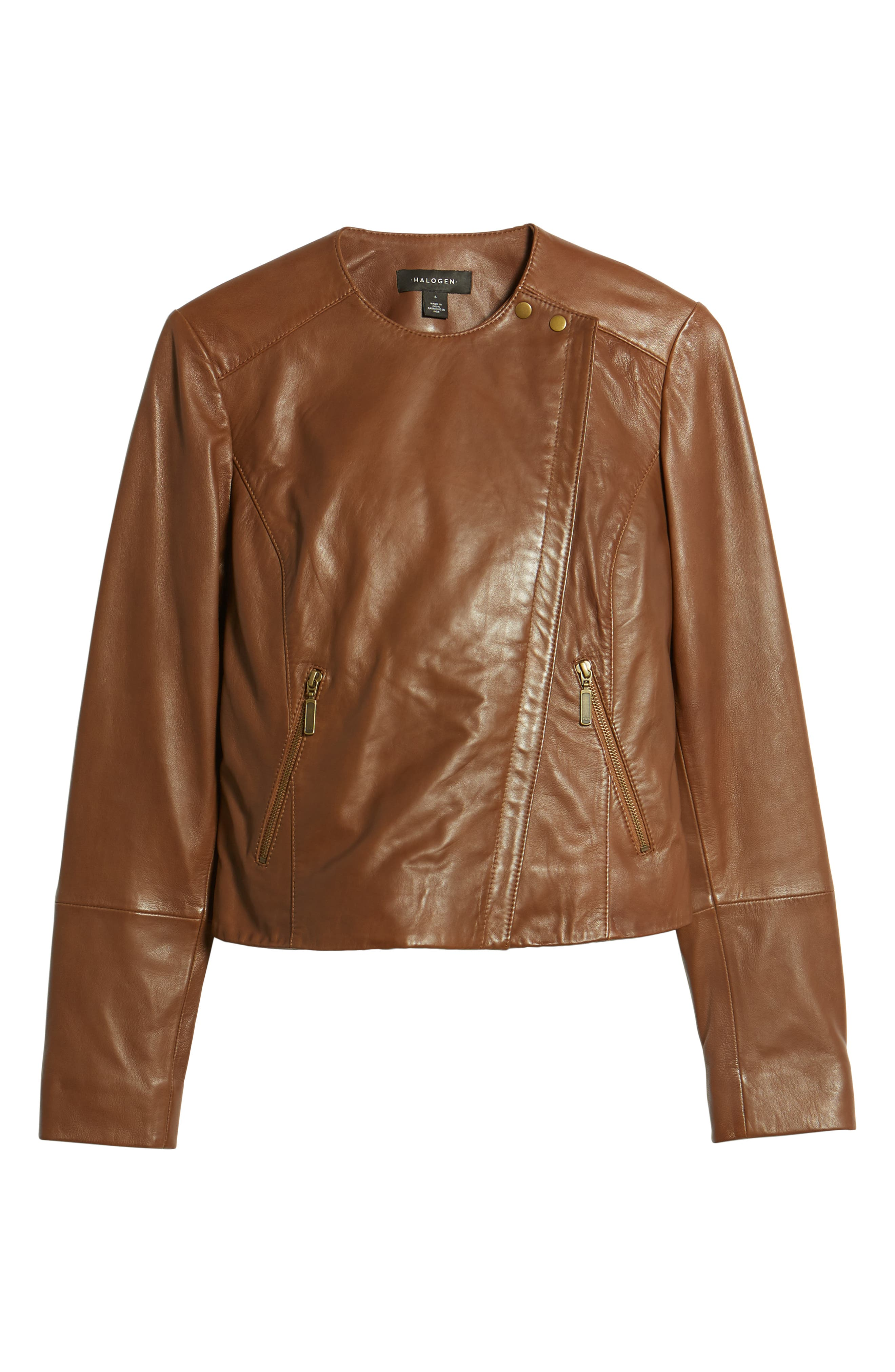 Collarless Leather Jacket,                             Alternate thumbnail 6, color,                             230
