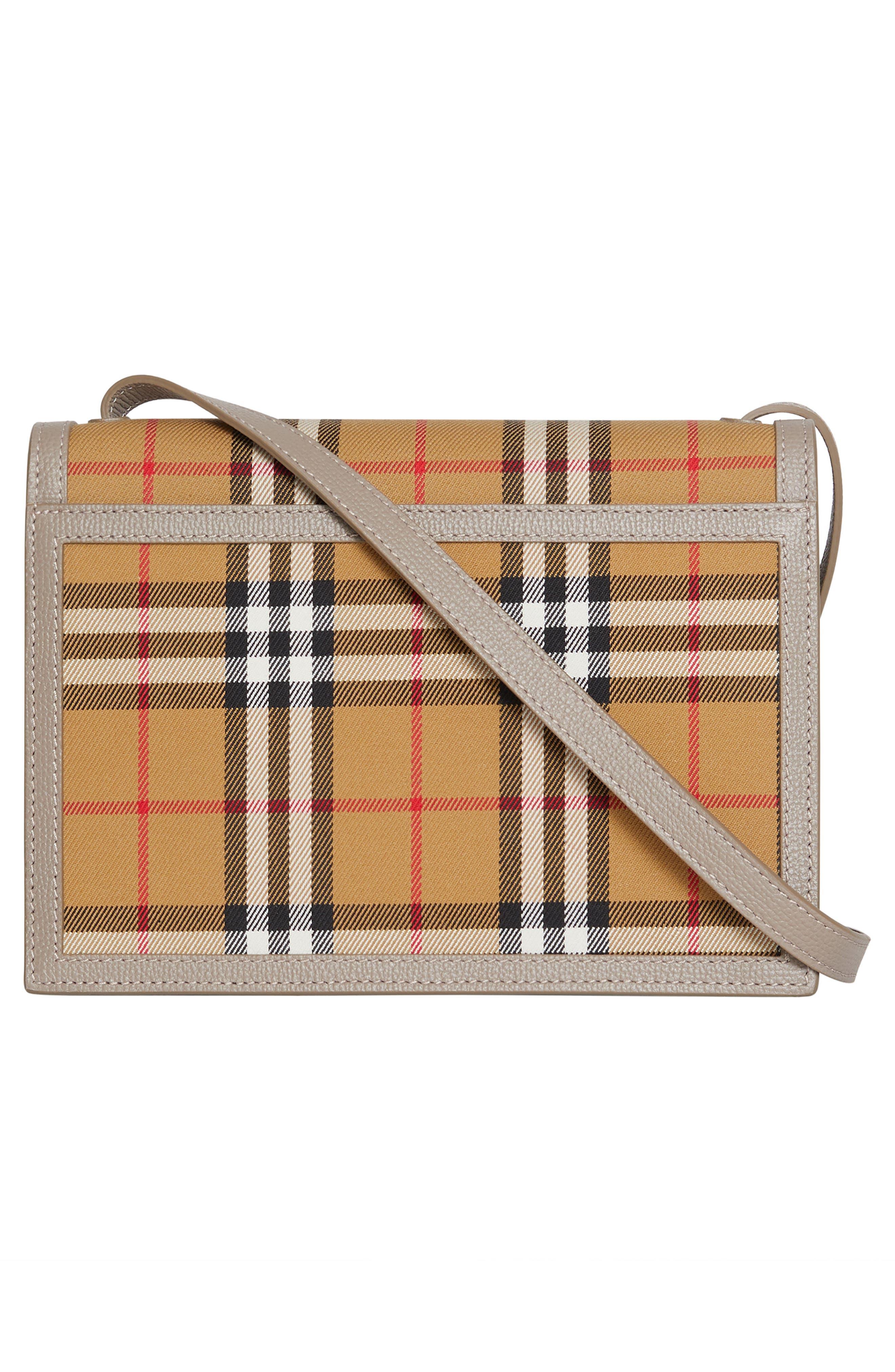 Small Macken Vintage Check Crossbody Bag,                             Alternate thumbnail 3, color,                             TAUPE BROWN
