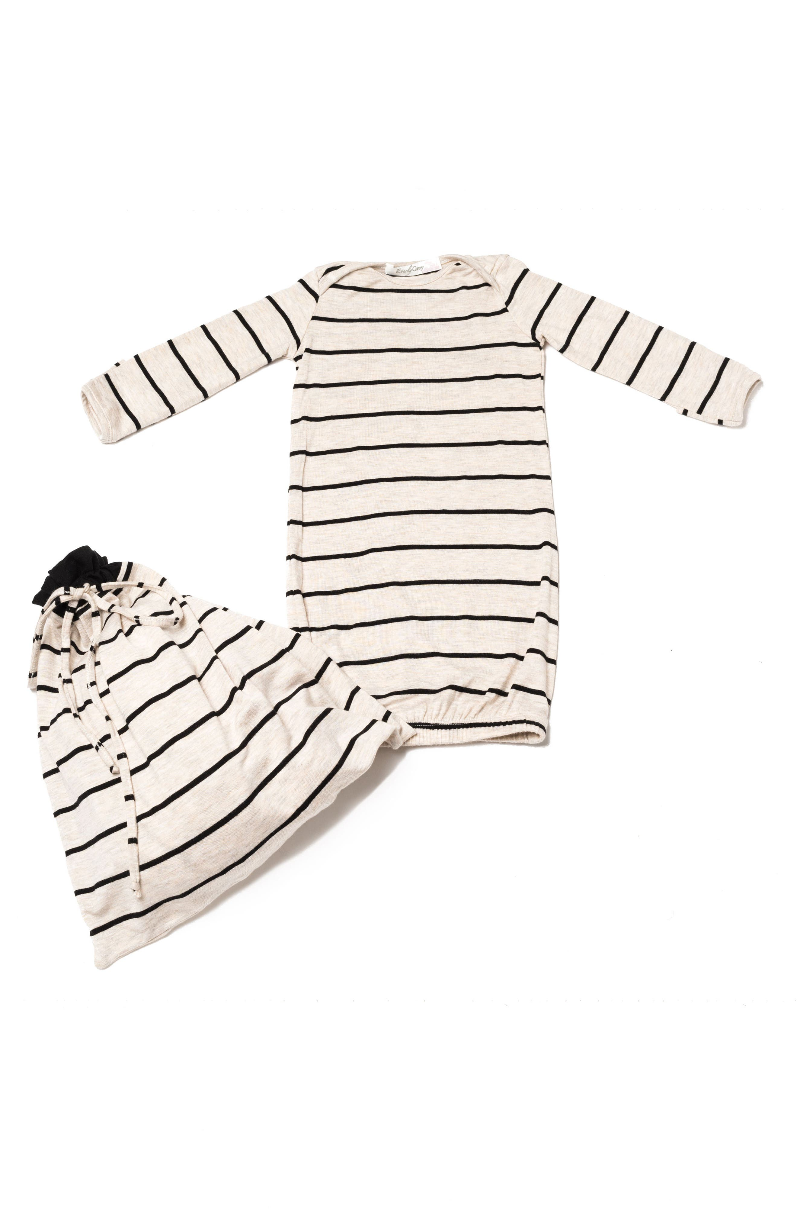 Roxanne - During & After 5-Piece Maternity Sleepwear Set,                             Alternate thumbnail 5, color,                             SAND STRIPE