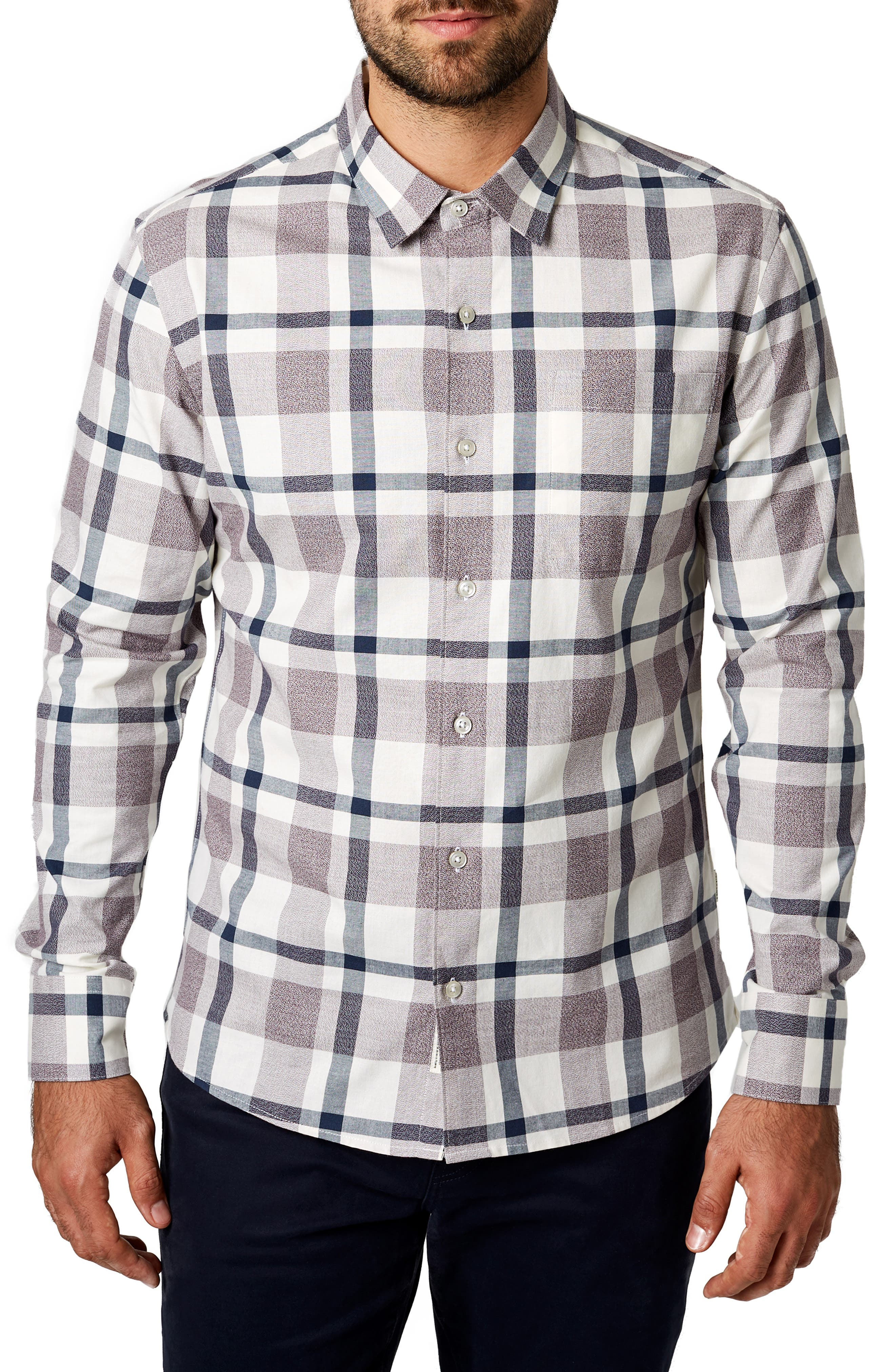 Youngblood Trim Fit Plaid Sport Shirt,                         Main,                         color, ROSE