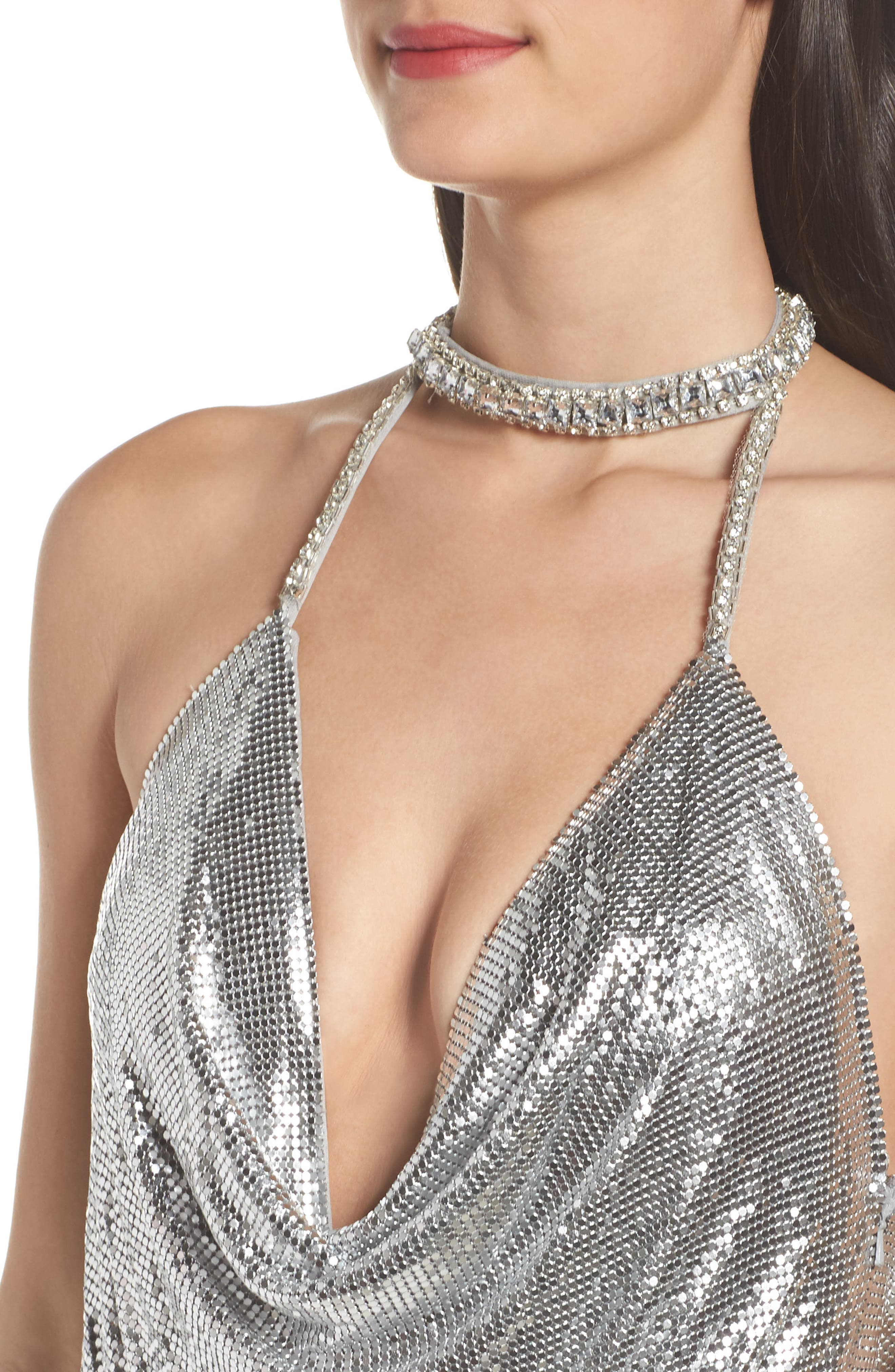 Jeweled Choker Column Gown,                             Alternate thumbnail 4, color,                             044