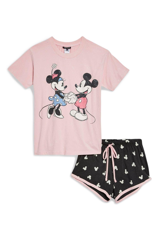 Minnie & Mickey Short Pajamas,                             Alternate thumbnail 4, color,                             DUSTY PINK MULTI