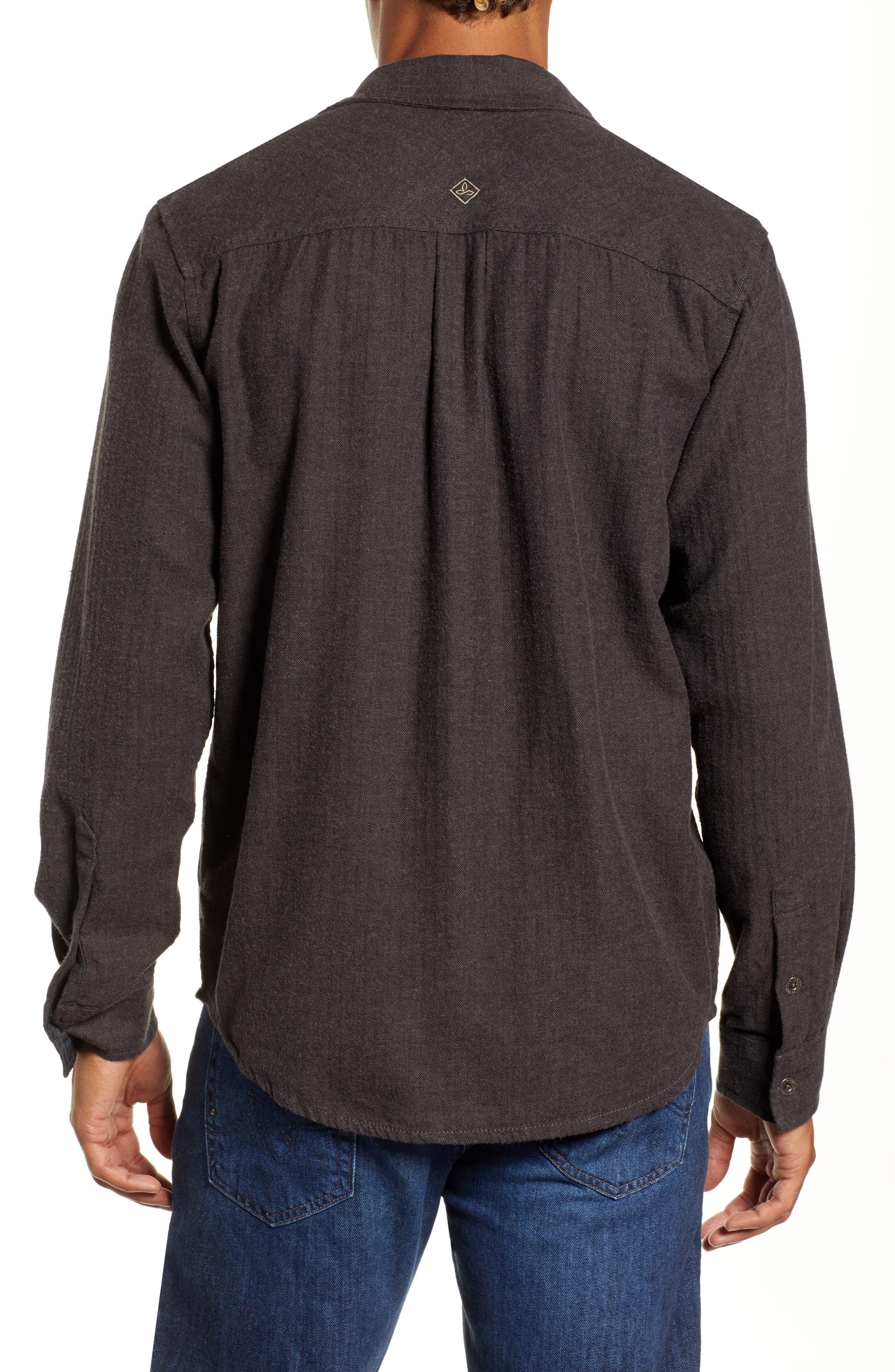 Lybek Regular Fit Herringbone Flannel Shirt,                             Alternate thumbnail 3, color,                             SCORCHED BROWN HERRINGBONE