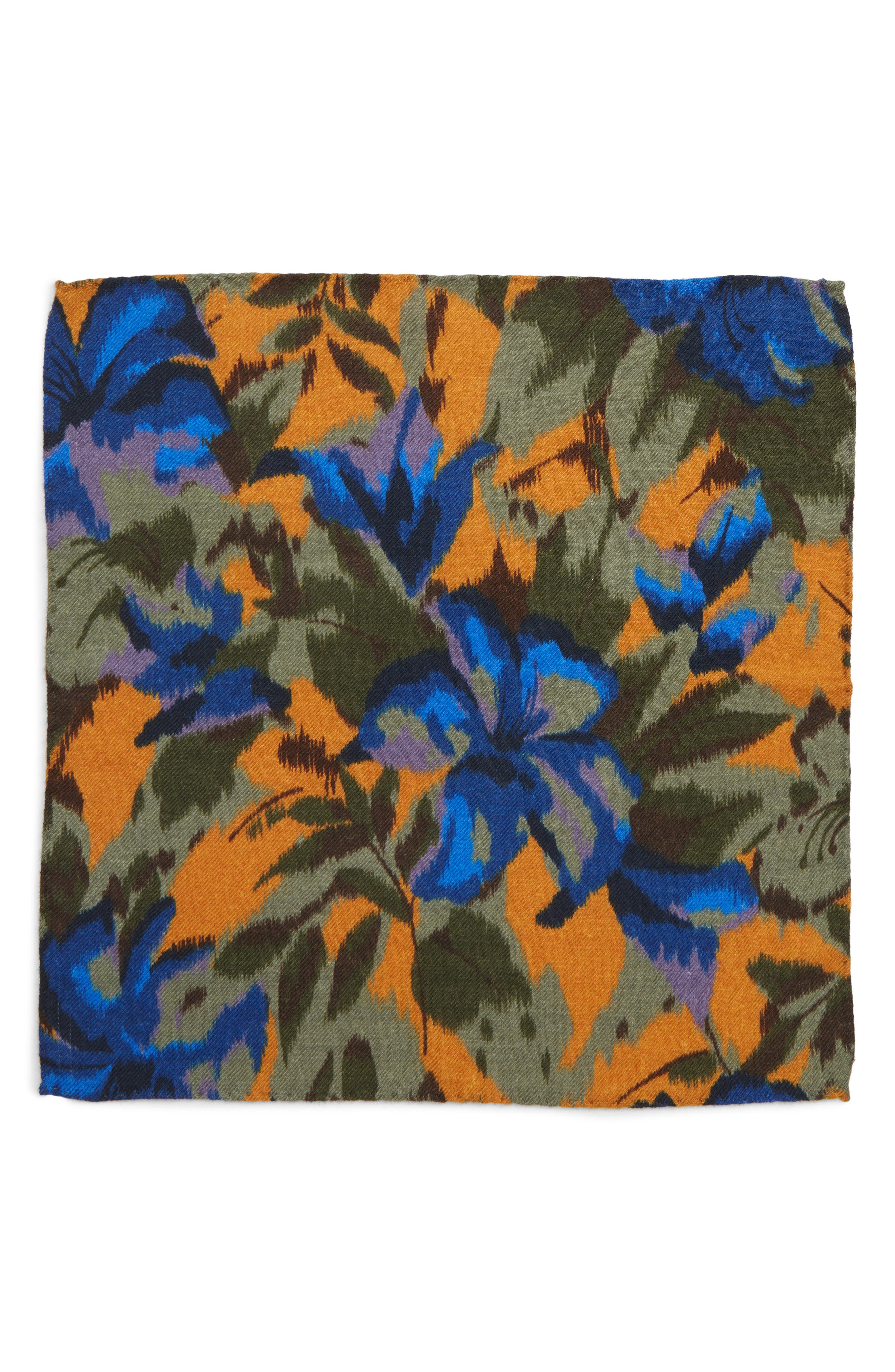 Floral Wool Pocket Square,                             Alternate thumbnail 2, color,                             FLORAL AMBER TOPAZ